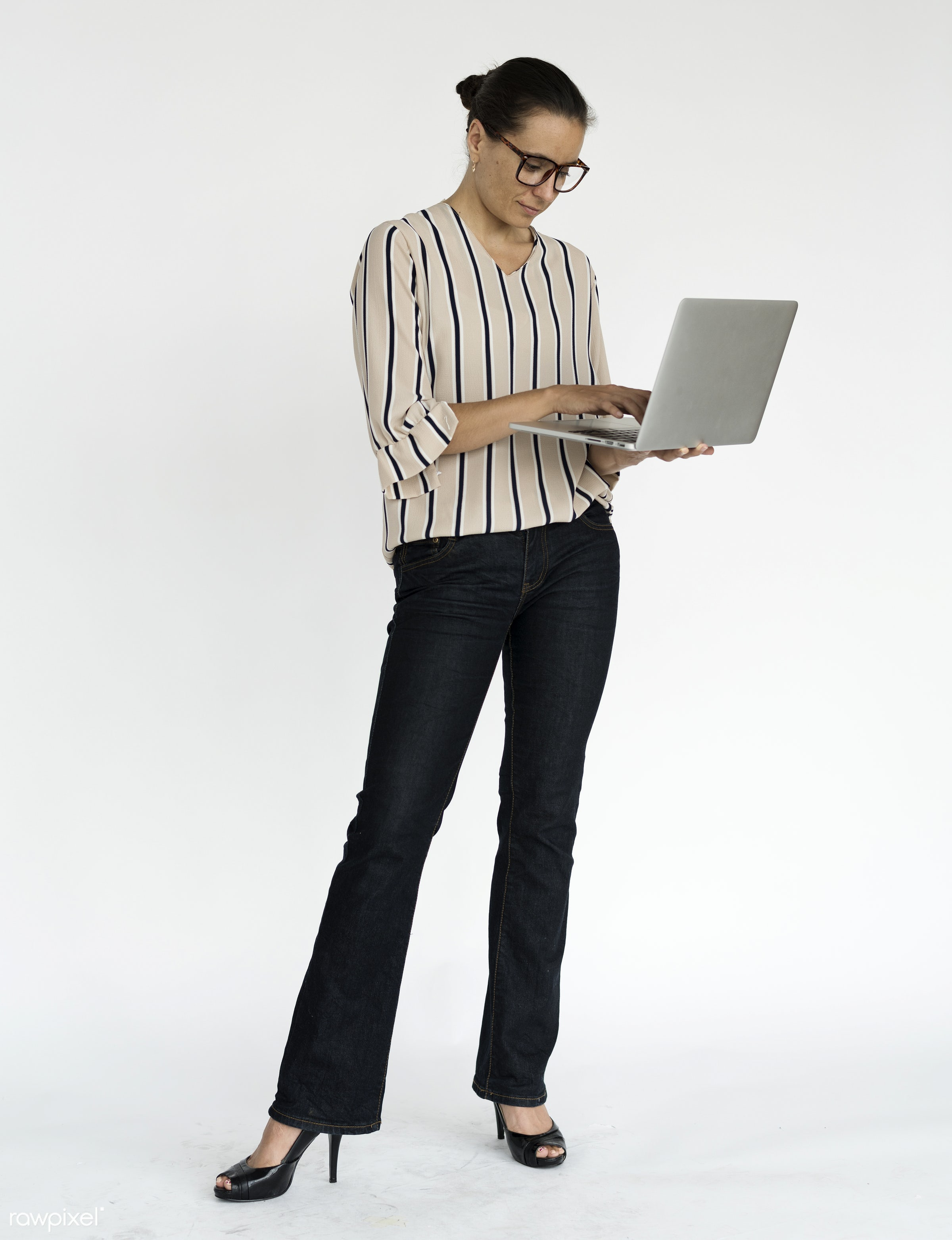 studio, expression, using, person, technology, holding, people, caucasian, woman, lifestyle, laptop, smile, positive,...