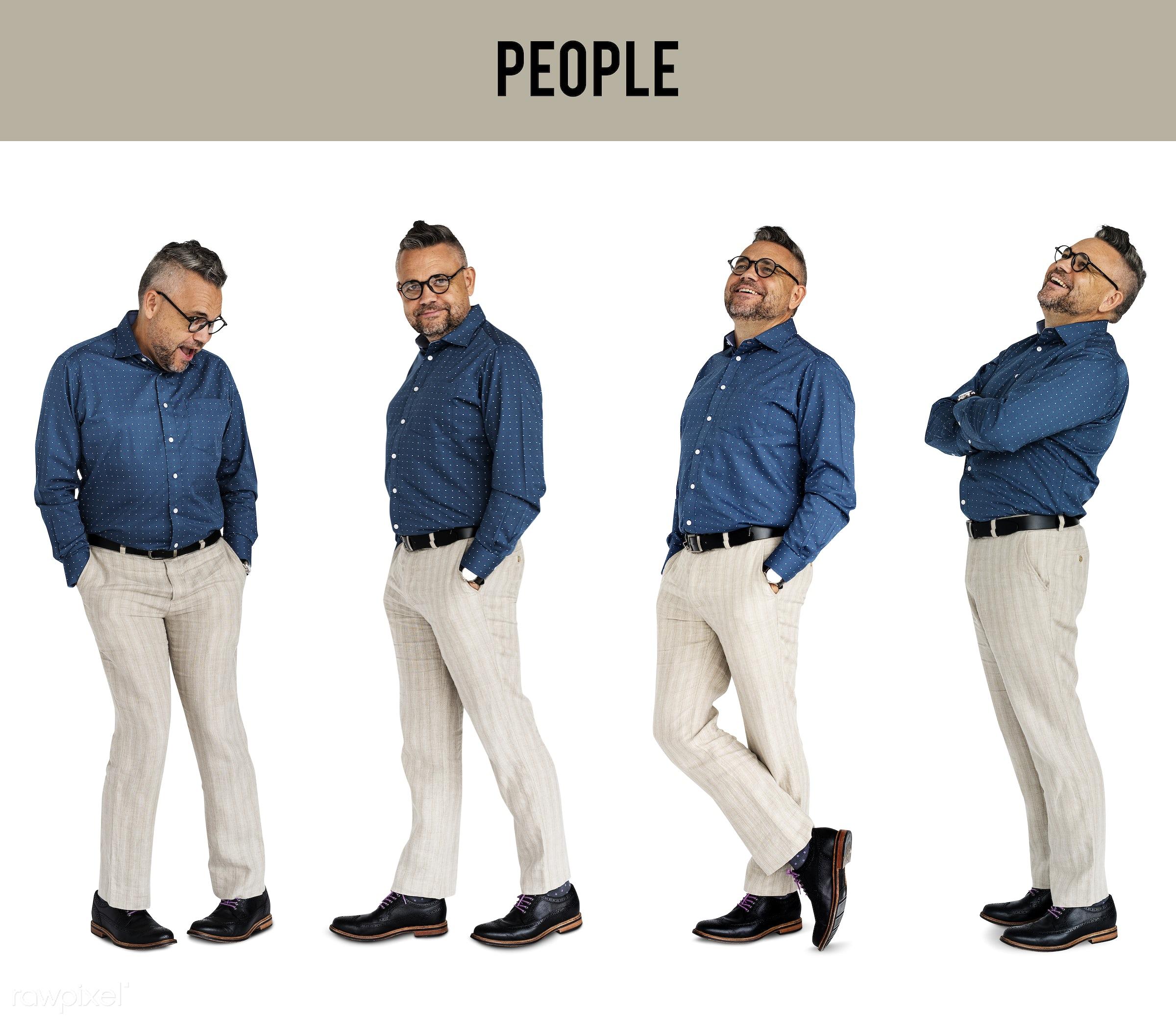 Diverse people set - gentlemen, studio, person, glasses, diverse, relax, set, collection, people, hispanic, attraction, life...