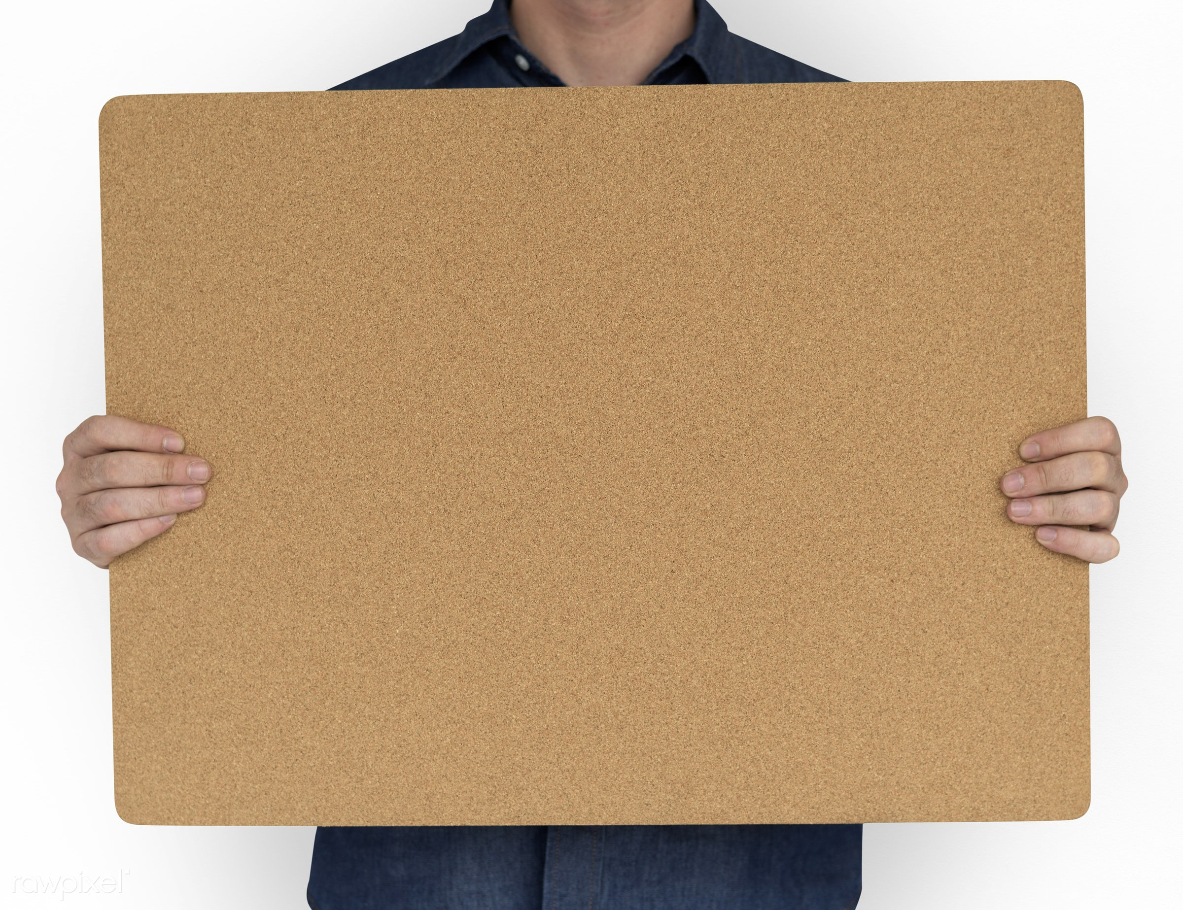 studio, copy space, person, cork, bulletin board, holding, isolated on white, announce, people, placard, casual, man, banner...