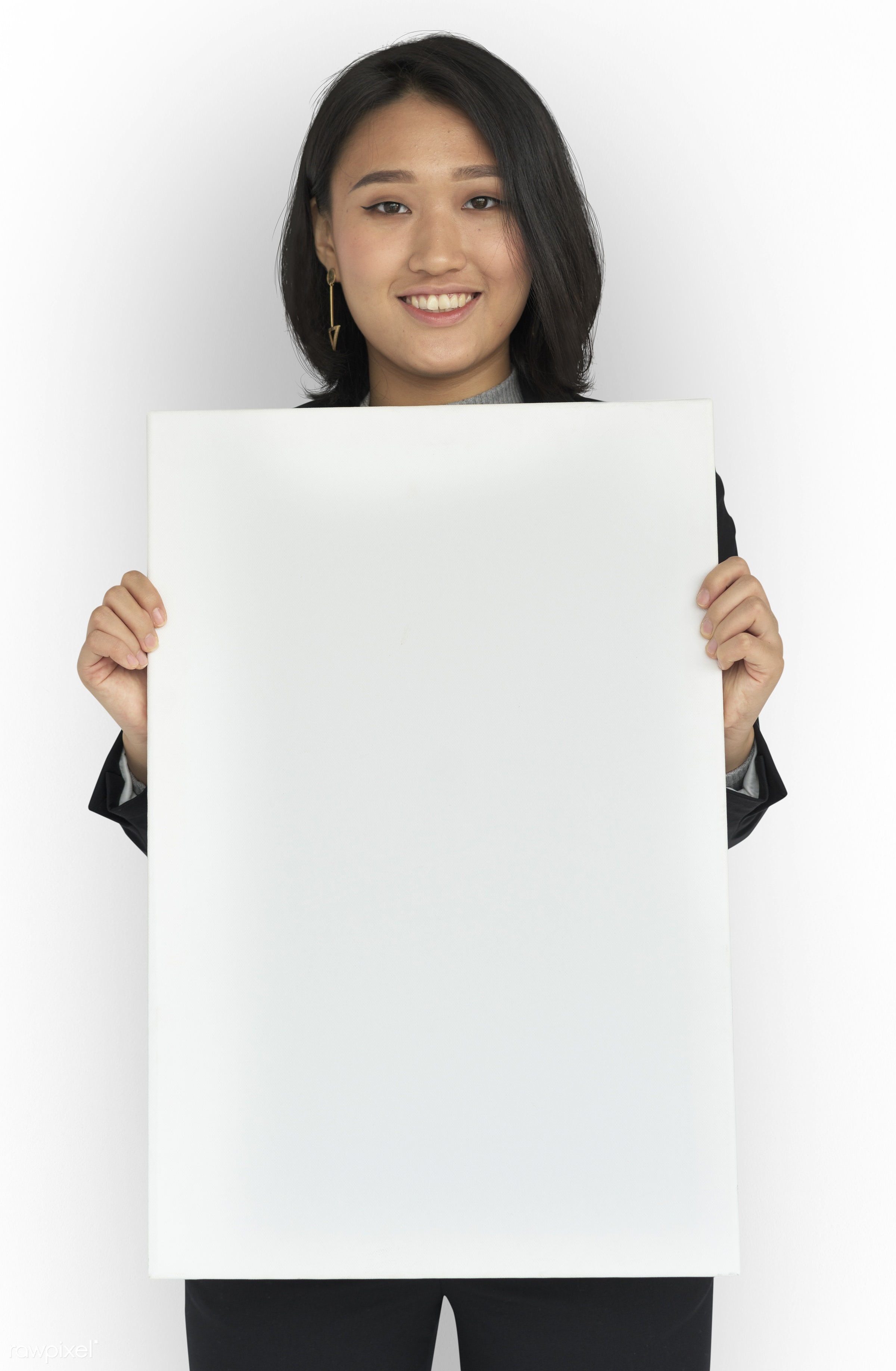 studio, expression, person, people, asian, placard, woman, smile, cheerful, smiling, isolated, white, happiness, asian woman...