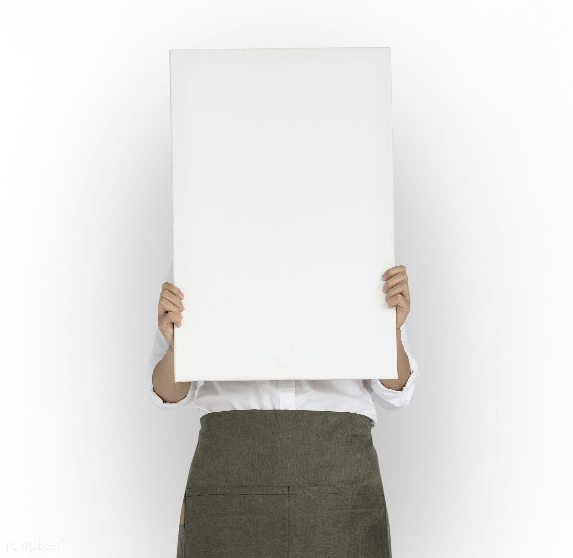 studio, copy space, person, isolated on white, people, placard, cover, girl, woman, casual, banner, isolated, blank, white,...