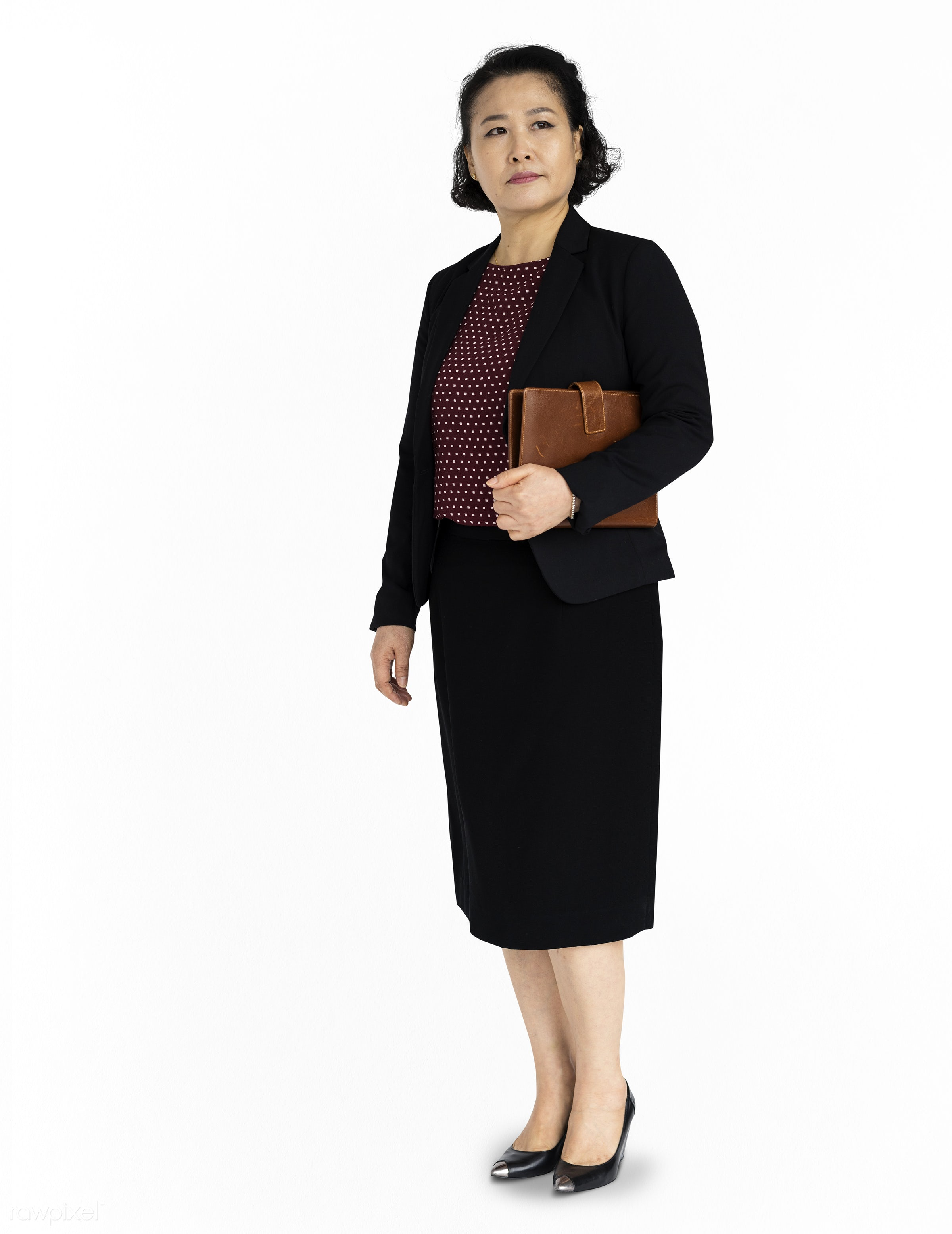 studio, expression, person, business wear, isolated on white, people, asian, pose, girl, woman, serious, formal attire,...
