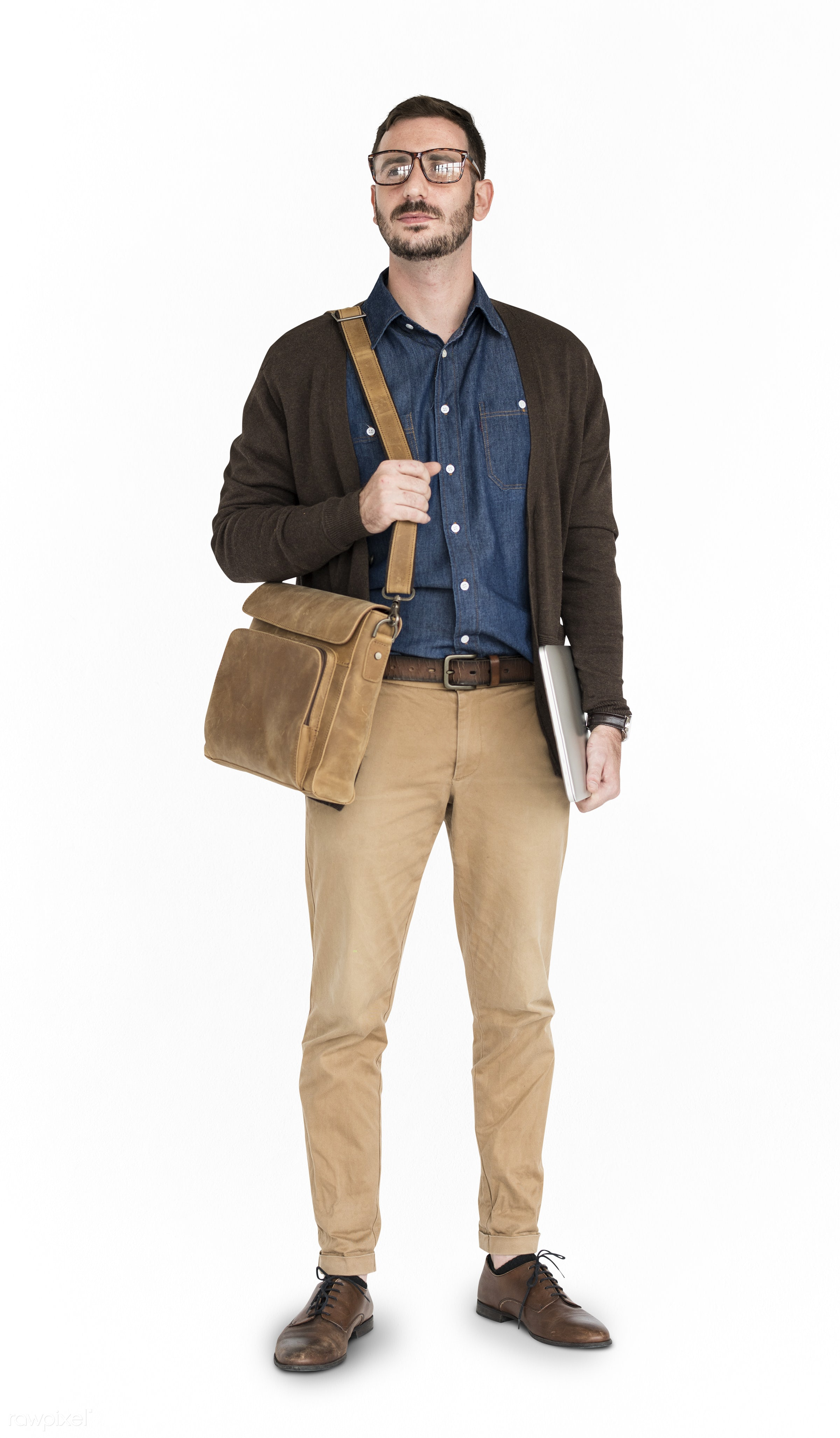 Caucasian Man Neutral Messenger Bag - expression, studio, casual attire, person, messenger bag, isolated on white, people,...