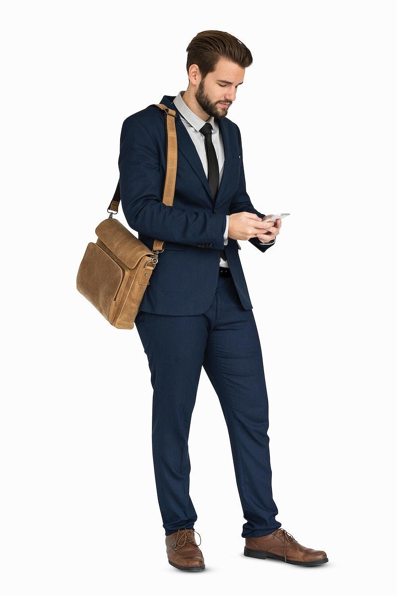 Caucasian Business Man Phone Smile