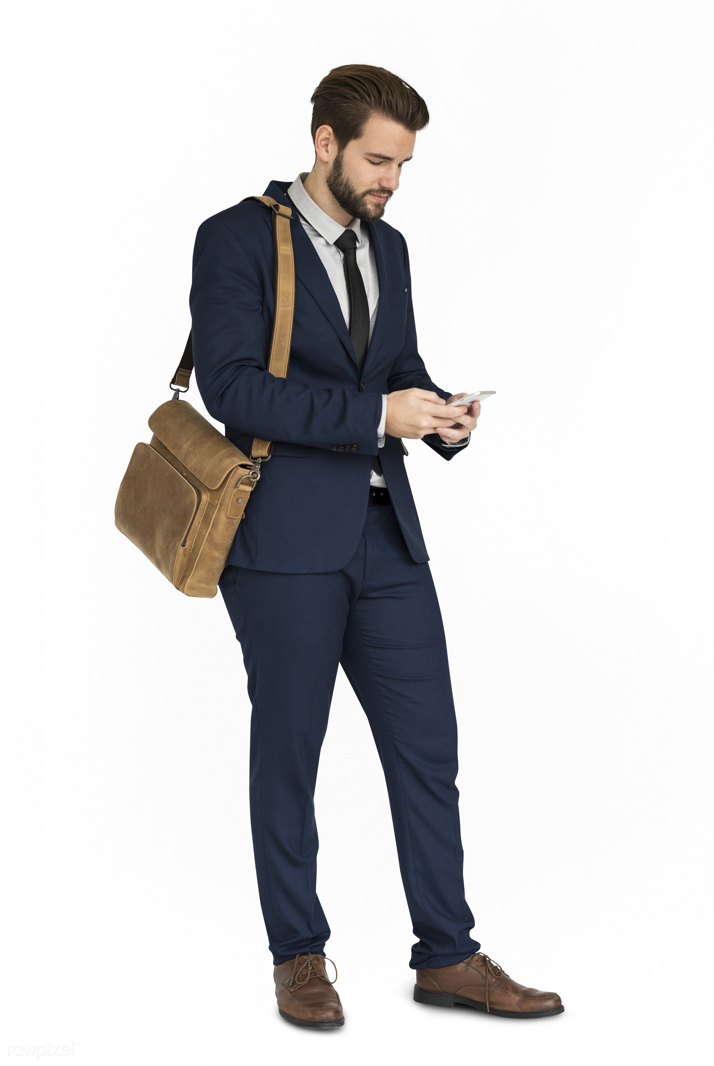 Caucasian Business Man Phone Smile - expression, studio, person, phone, business wear, messenger bag, isolated on white,...