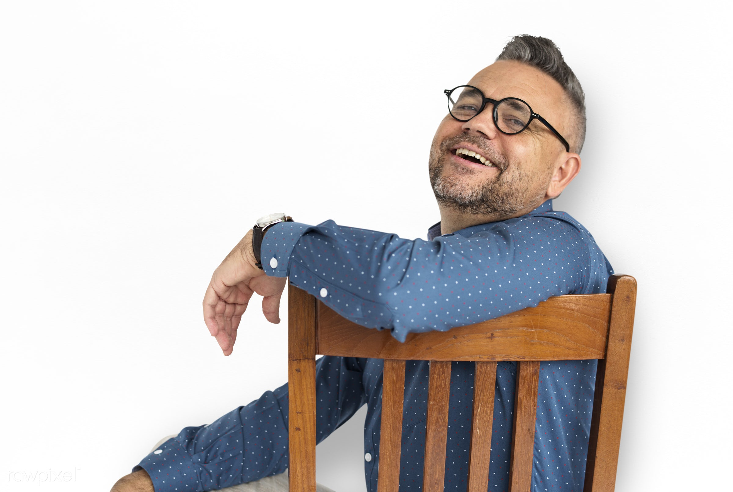 Casual Caucasian Man Sitting Smiling - expression, studio, person, isolated on white, people, caucasian, pose, happy, casual...