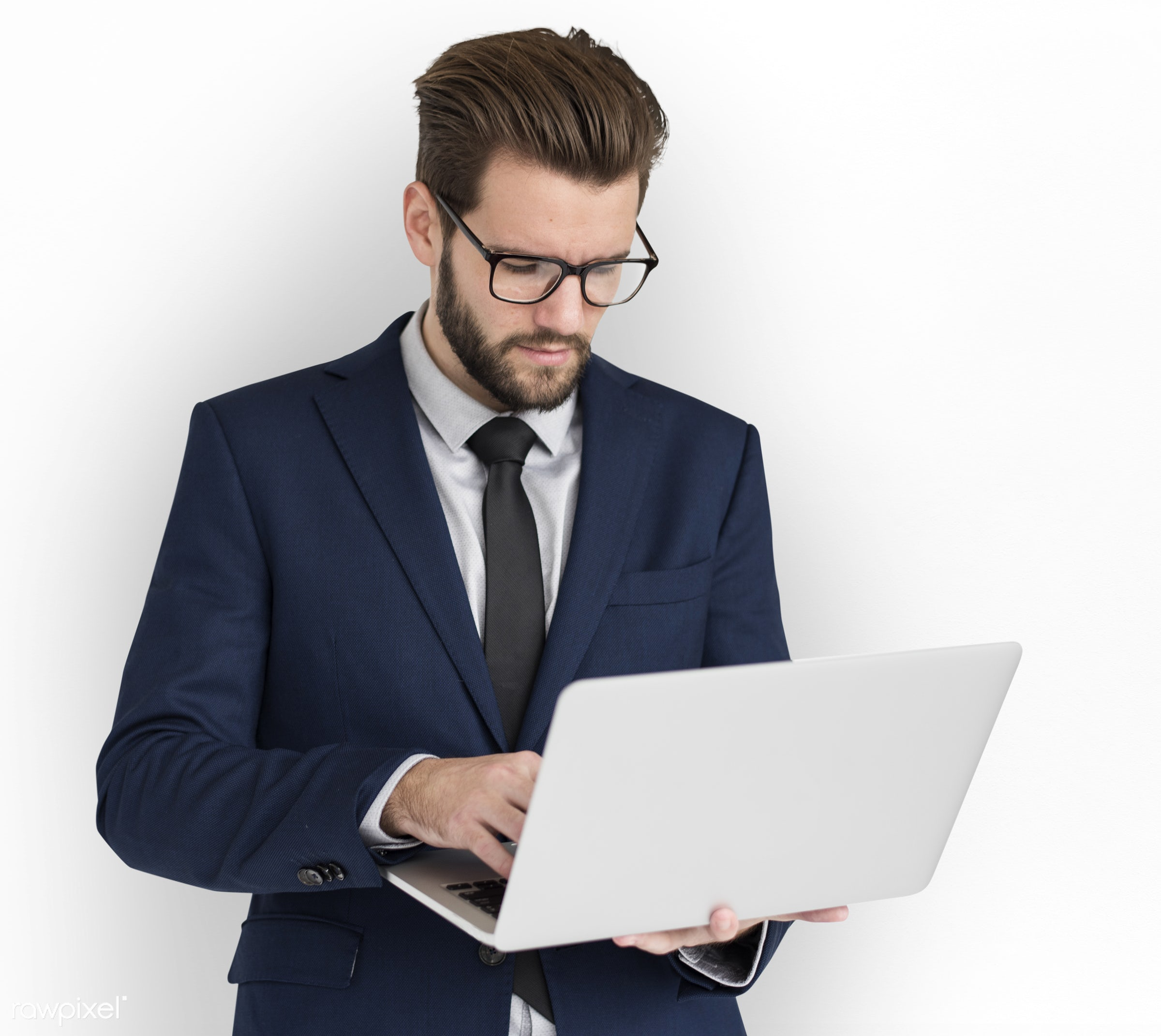 expression, studio, person, business wear, poker face, isolated on white, using laptop, concentrating, people, business,...