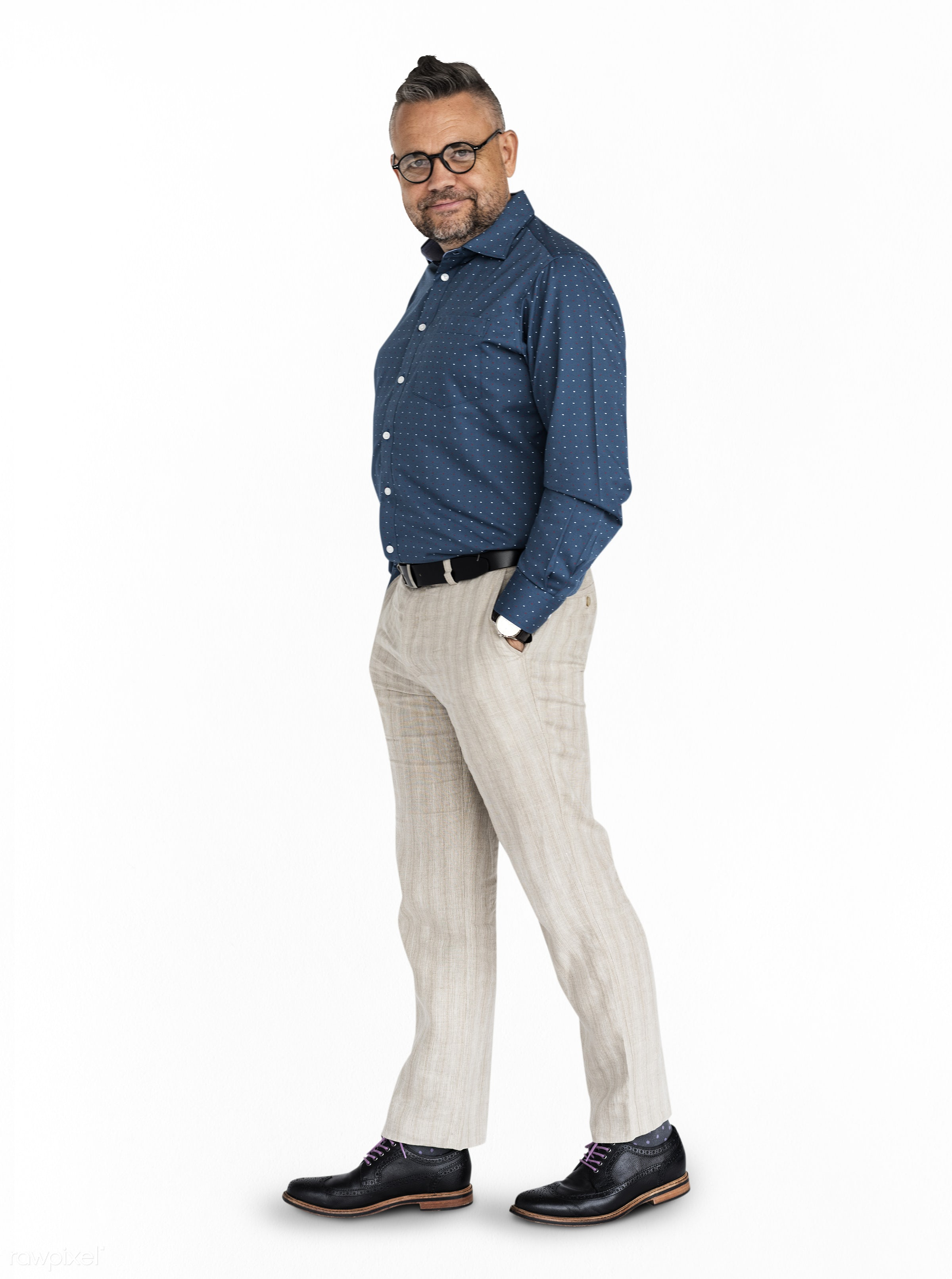 Caucasian Man Posing Cheerful - expression, studio, casual attire, person, isolated on white, joy, people, caucasian, pose,...
