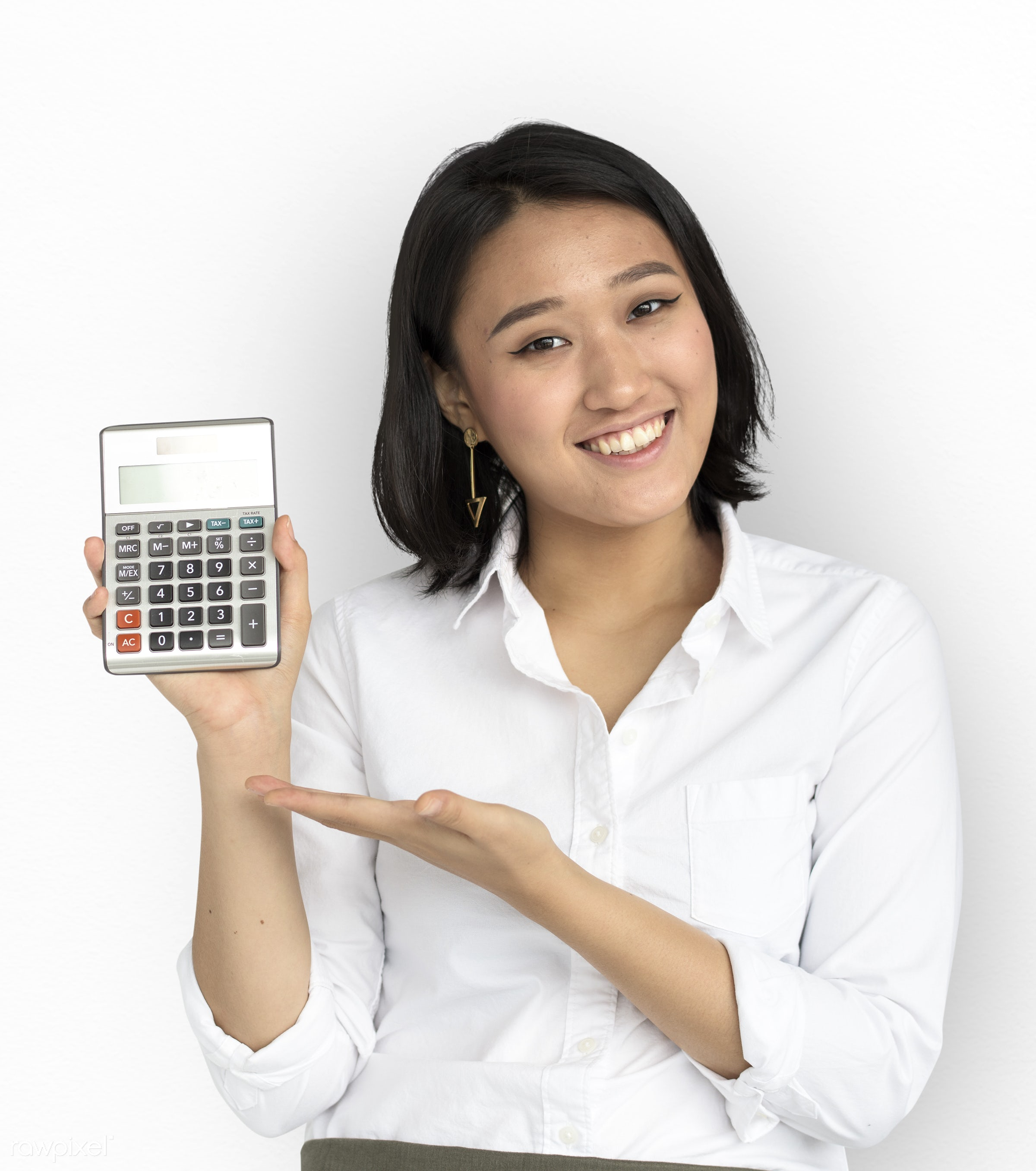 expression, studio, person, isolated on white, show, people, asian, girl, woman, showing, smile, calculator, smiling, formal...