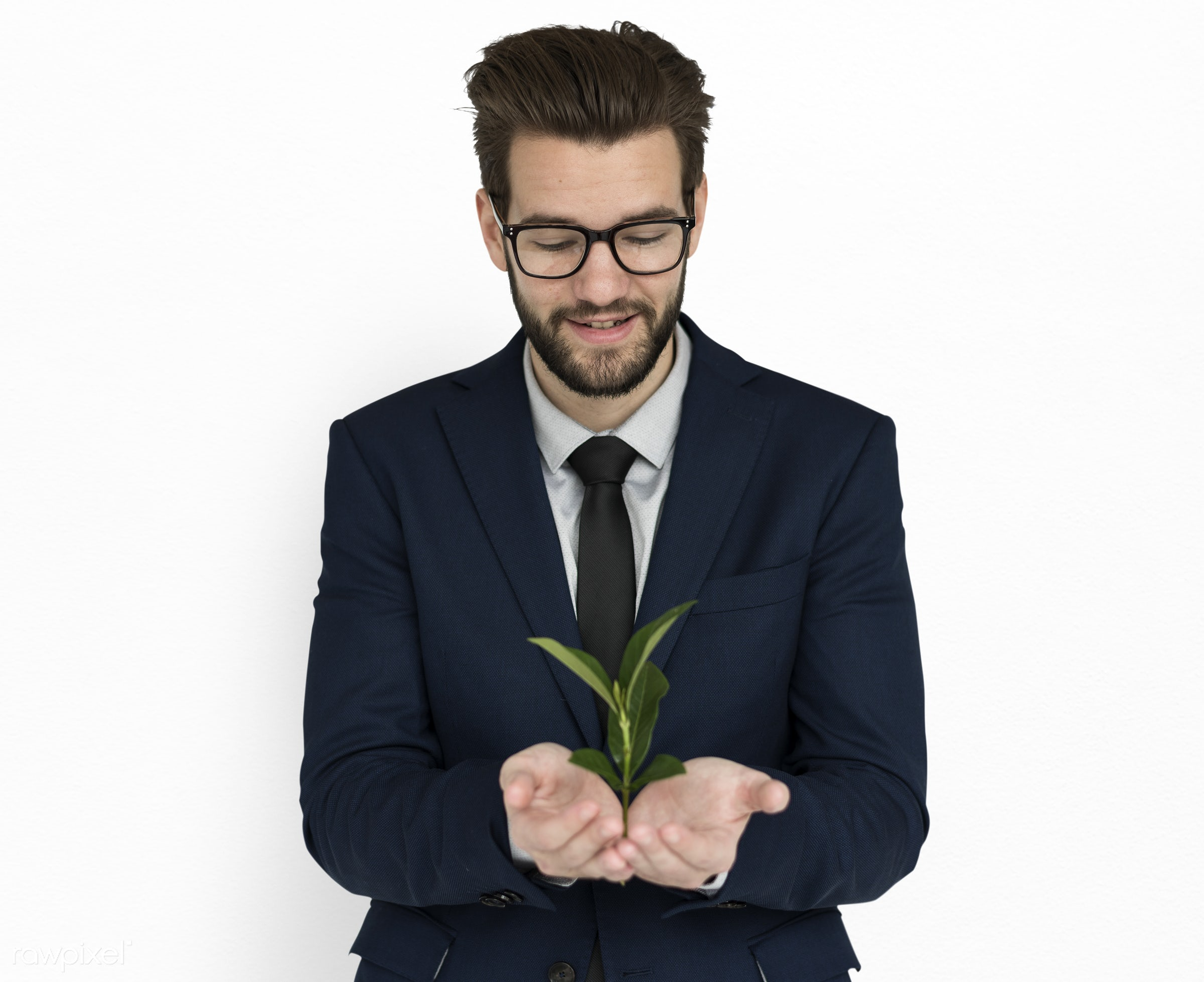plant, expression, studio, person, business wear, holding, people, caucasian, happy, care, smile, cheerful, man, smiling,...