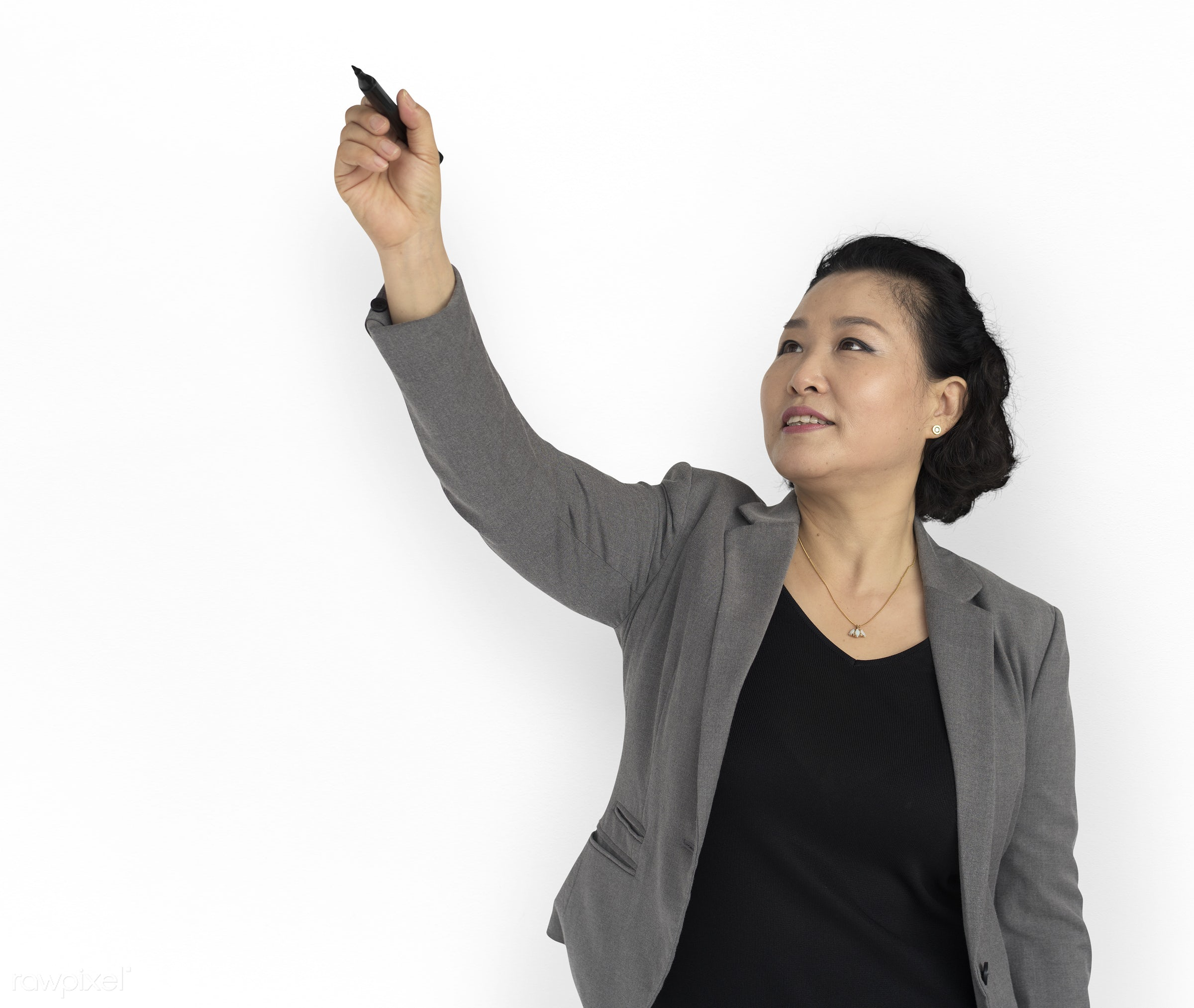 studio, expression, holding marker, old, person, people, asian, woman, smile, positive, cheerful, formal attire, smiling,...