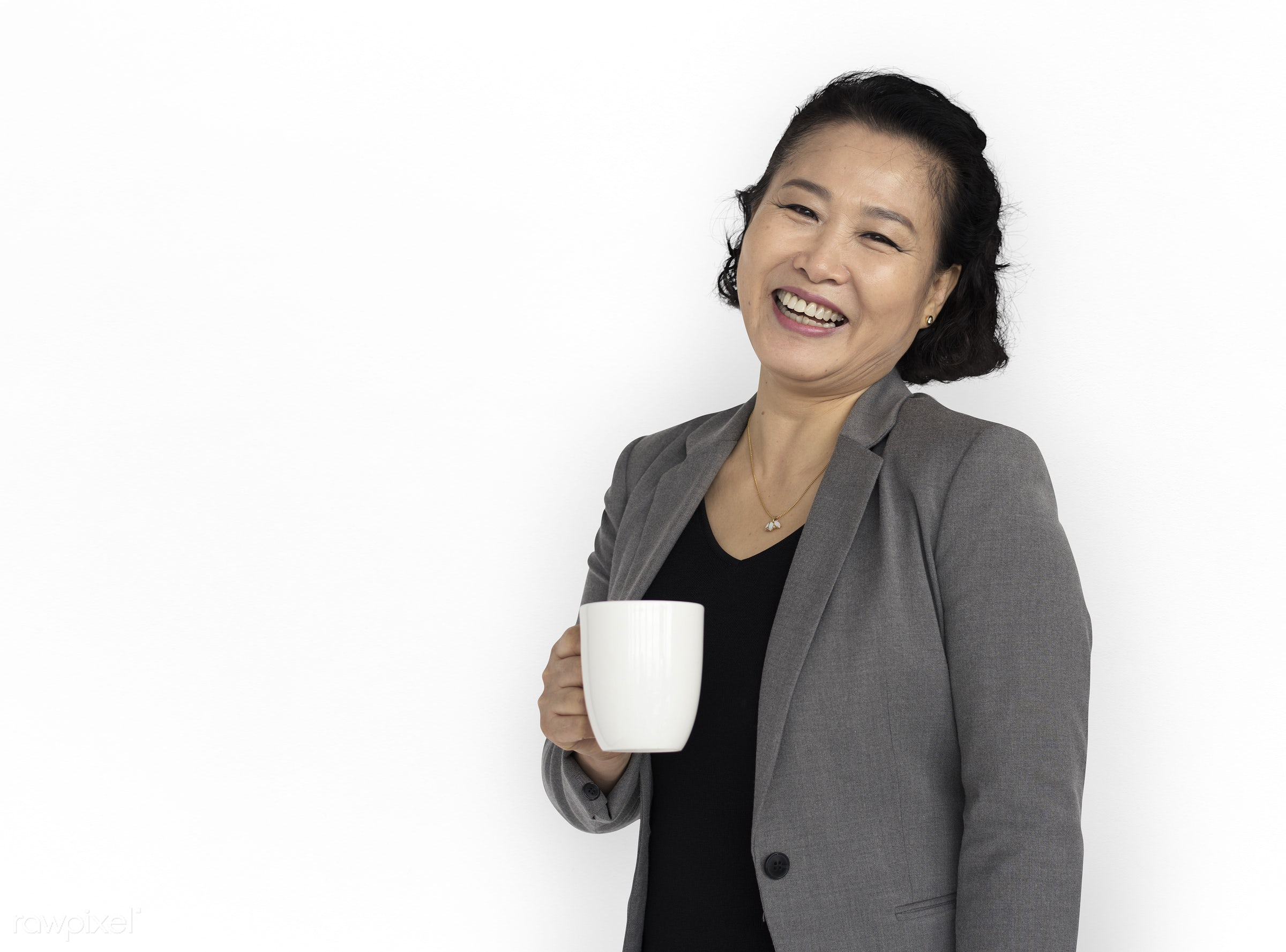 studio, expression, person, old, business wear, isolated on white, people, business, asian, girl, woman, happy, smile,...