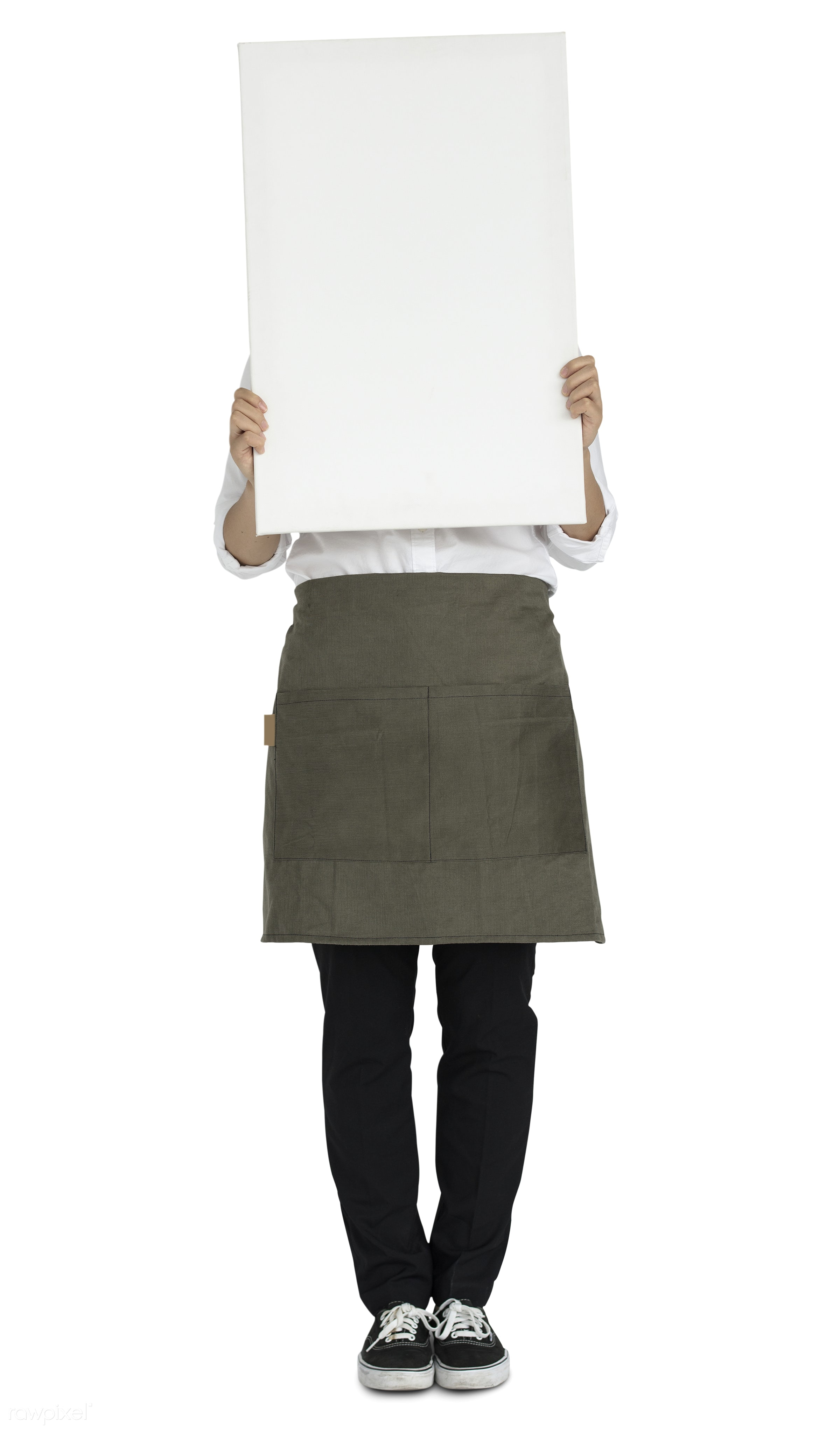mockup, isolated, placard, adult, apron, background, banner, blank, casual, copy space, female, girl, holding, isolated on...