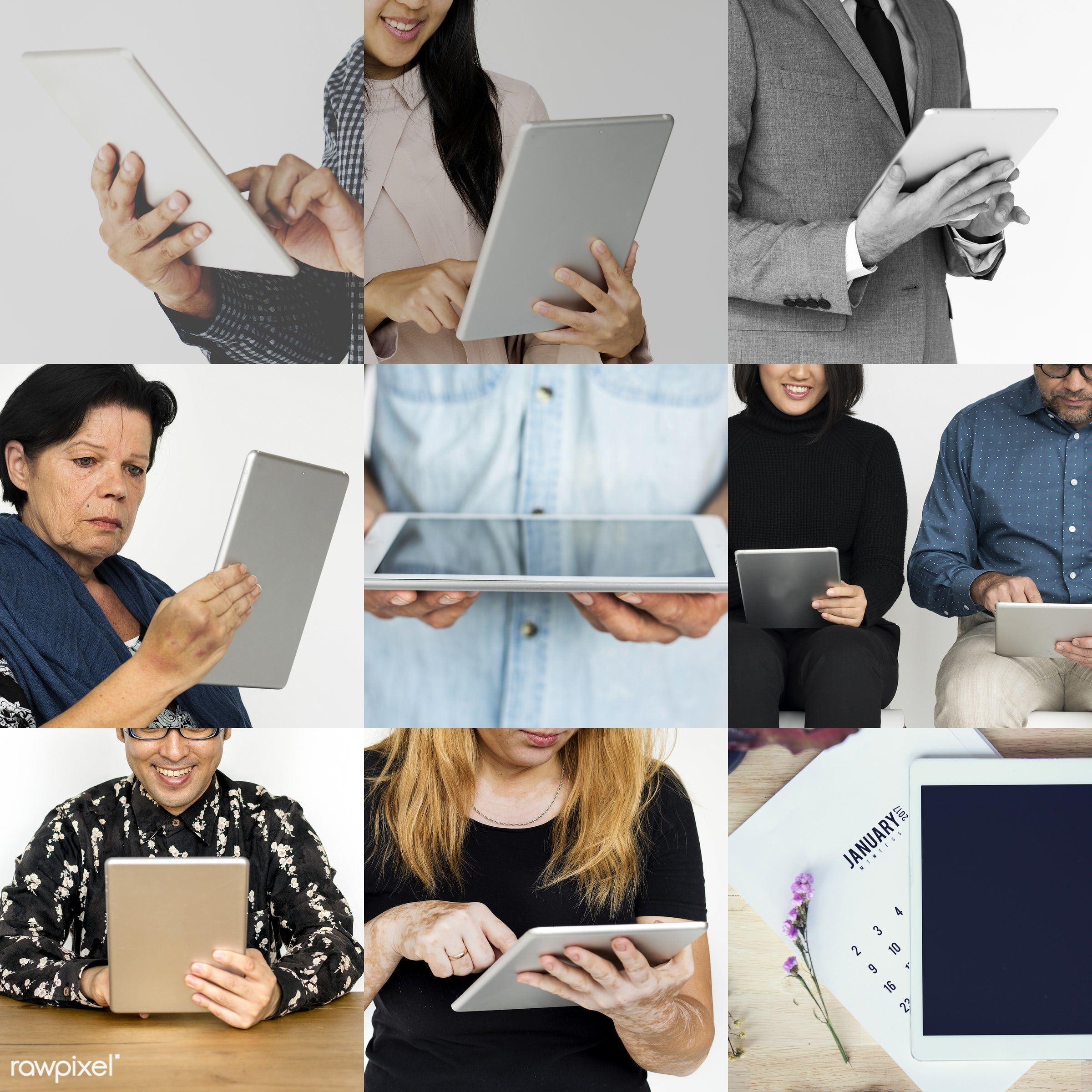 different, person, using, technology, diverse, isolated on white, set, variation, collection, digital, people, online,...