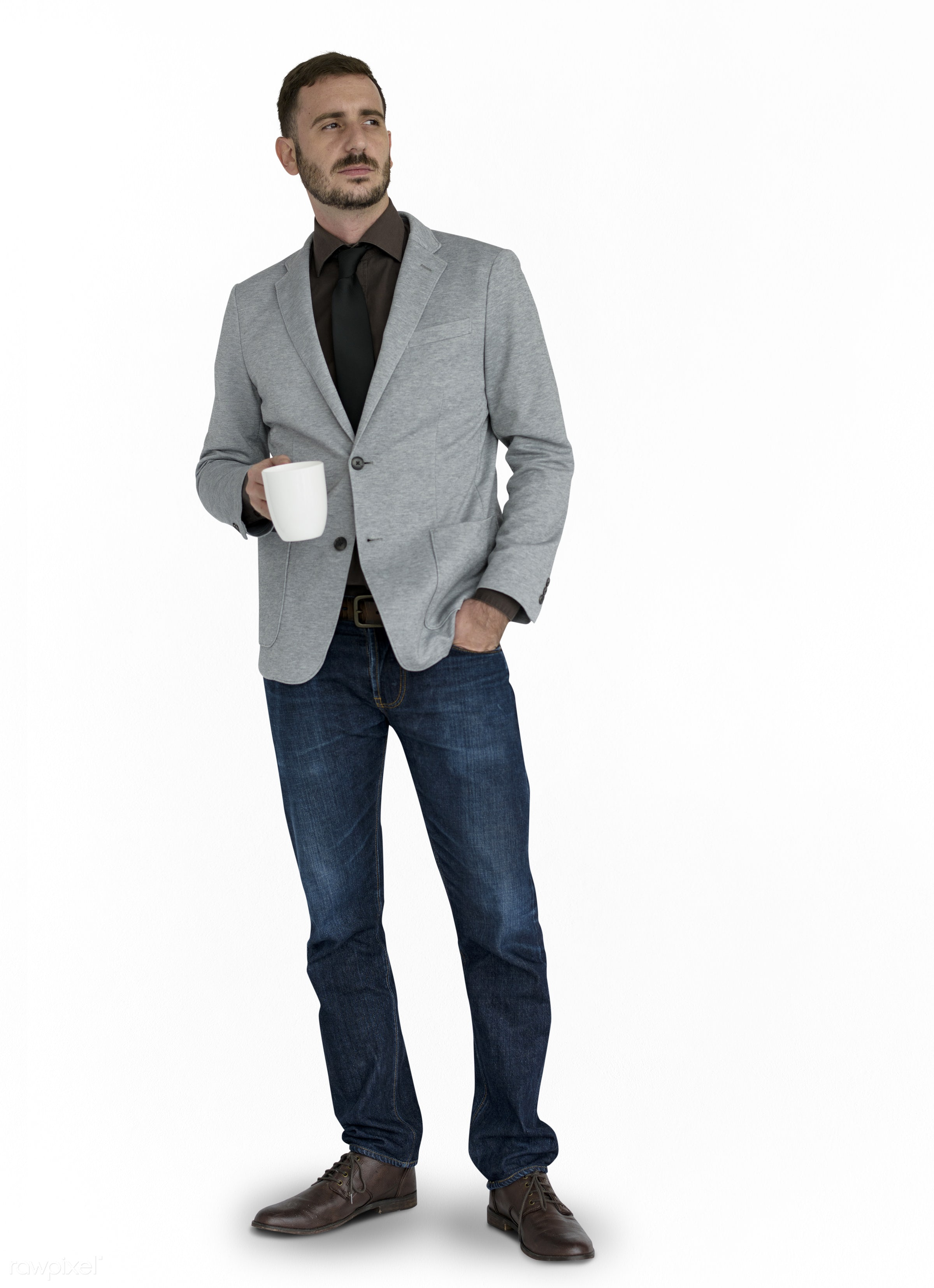 expression, studio, person, business wear, isolated on white, people, business, caucasian, pose, holding coffee, man, formal...