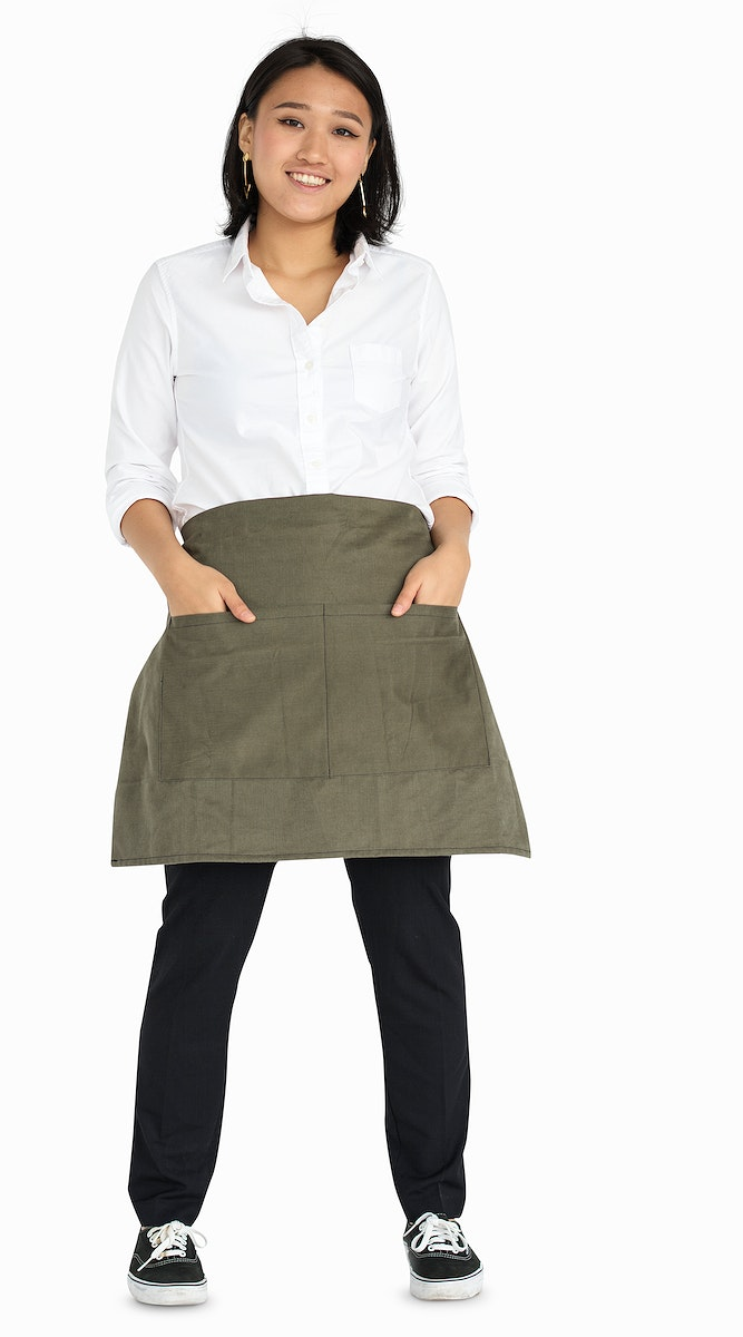 Young Asian Woman Casual Apron Smiling