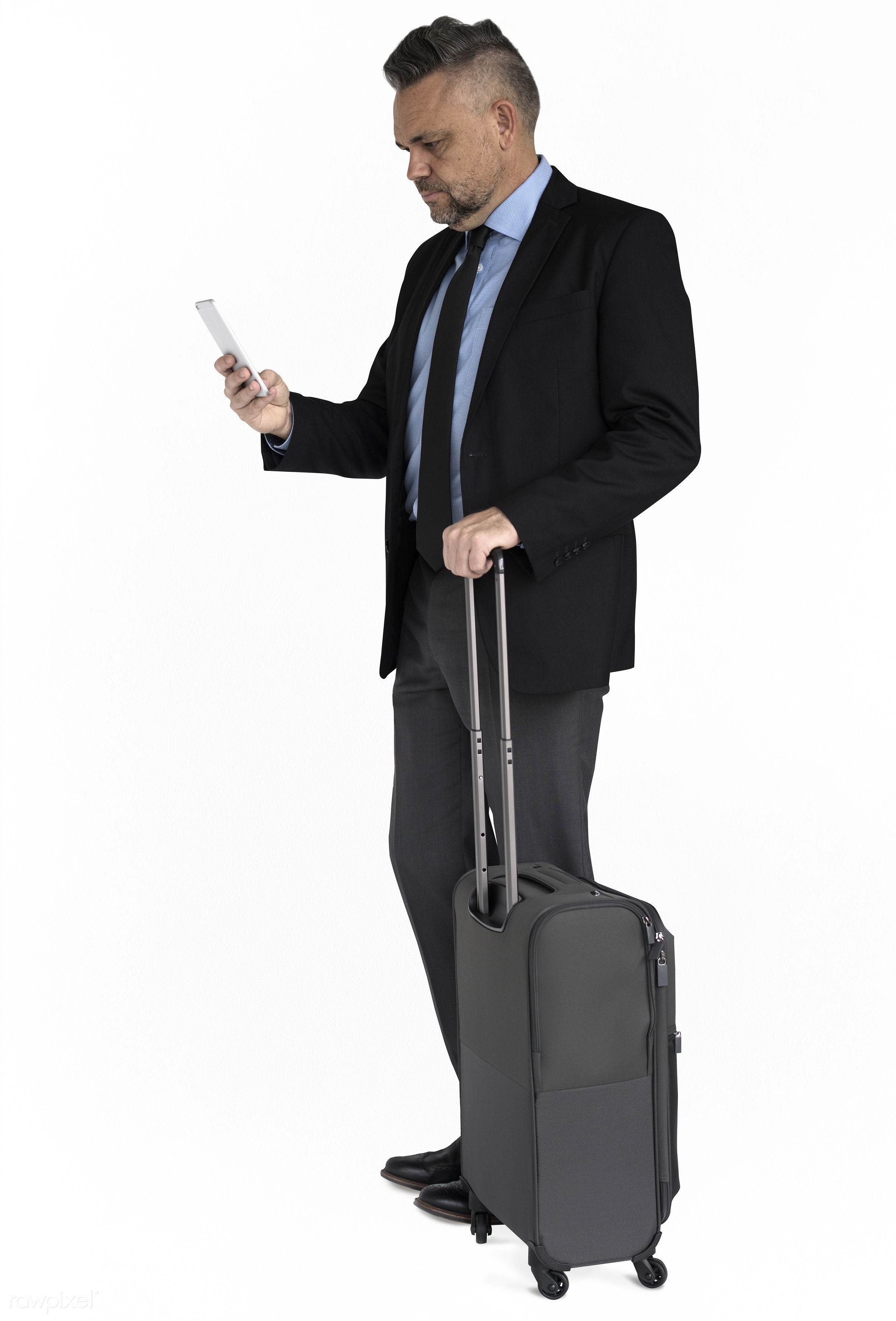 business trip, expression, studio, person, phone, business wear, isolated on white, luggage, travel, people, business,...