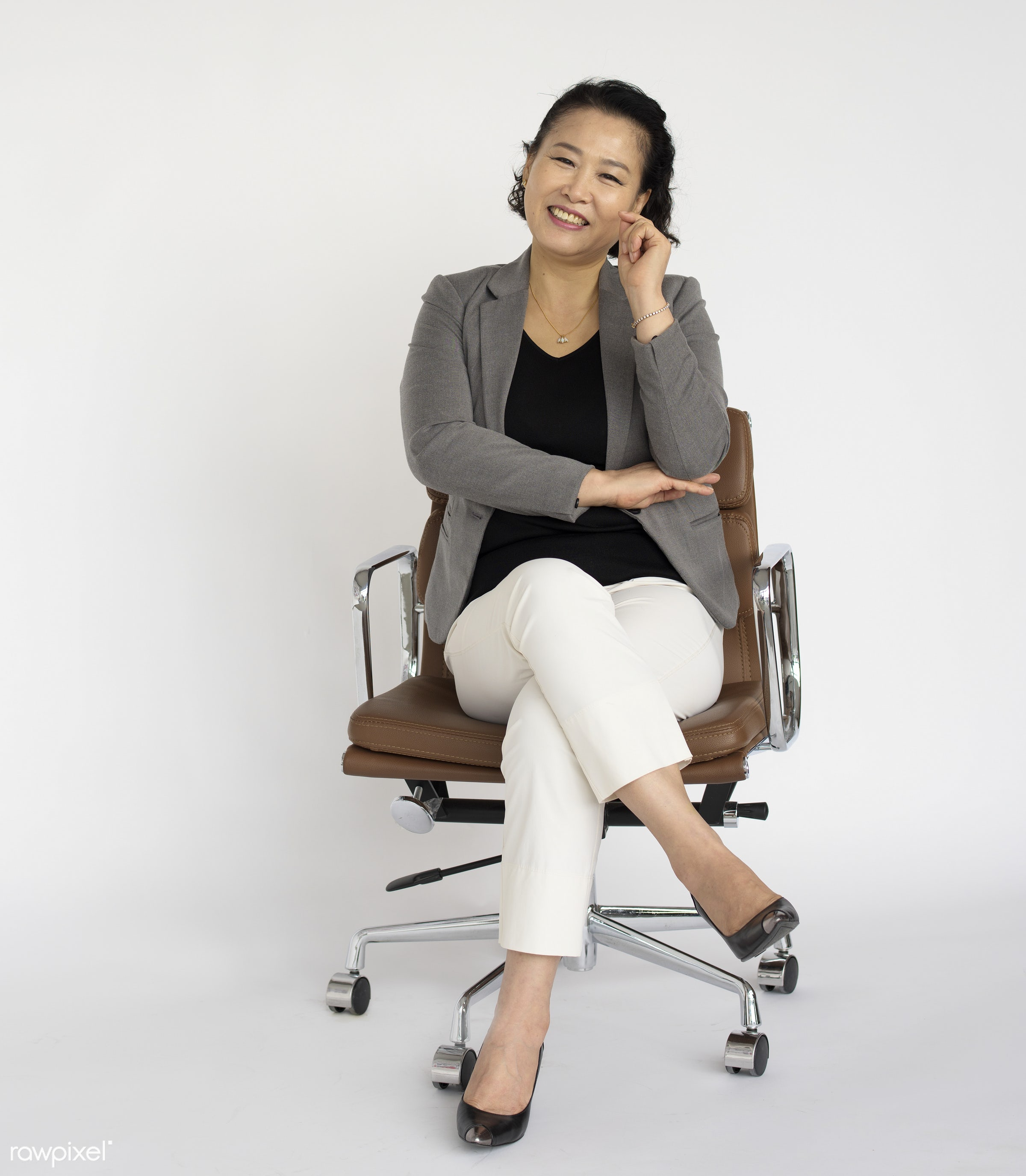 Portrait of a mature Asian businesswoman - expression, studio, person, one, people, business, modern, style, woman,...