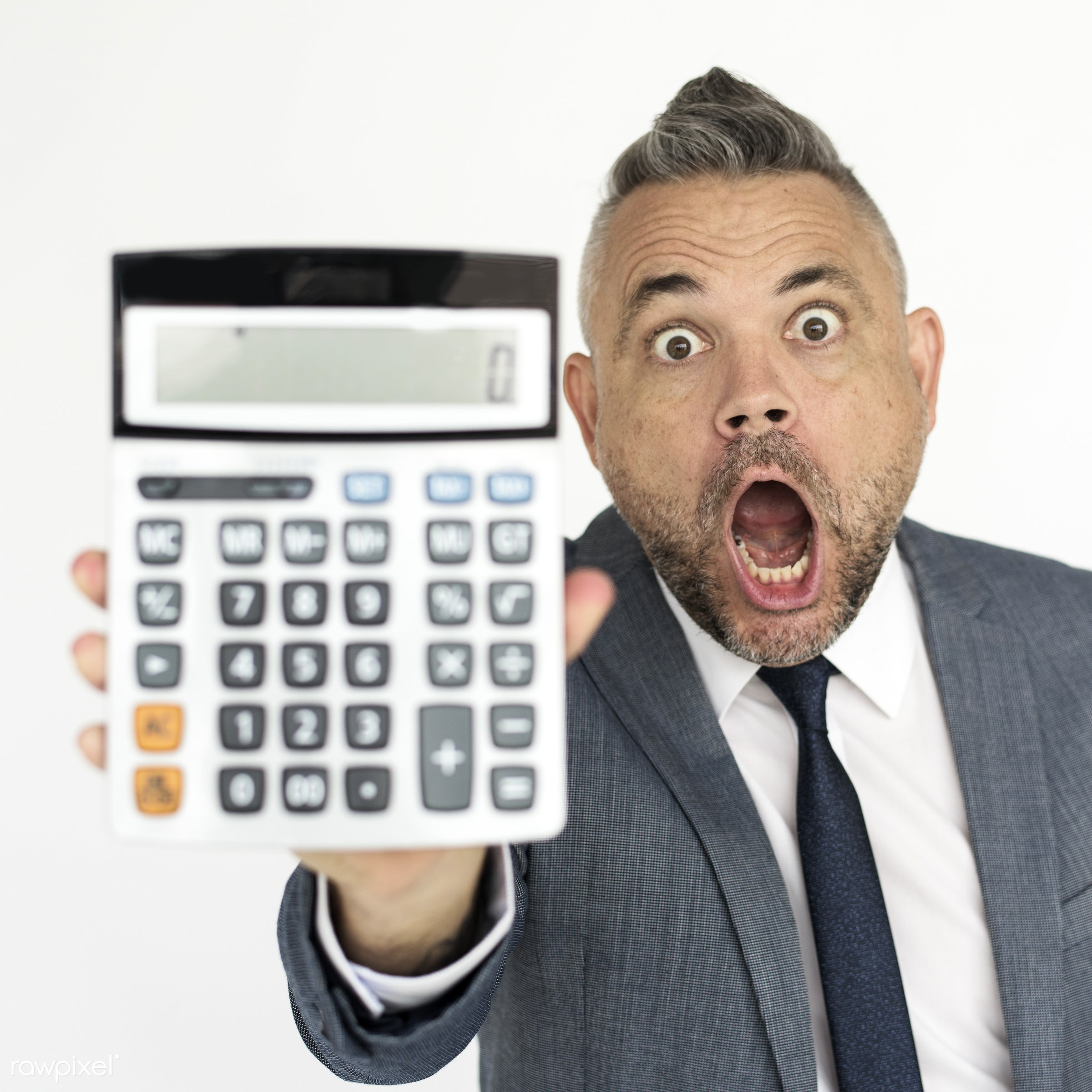 studio, person, one, people, business, modern, businessman, style, attractive, positive, calculator, cheerful, man, isolated...