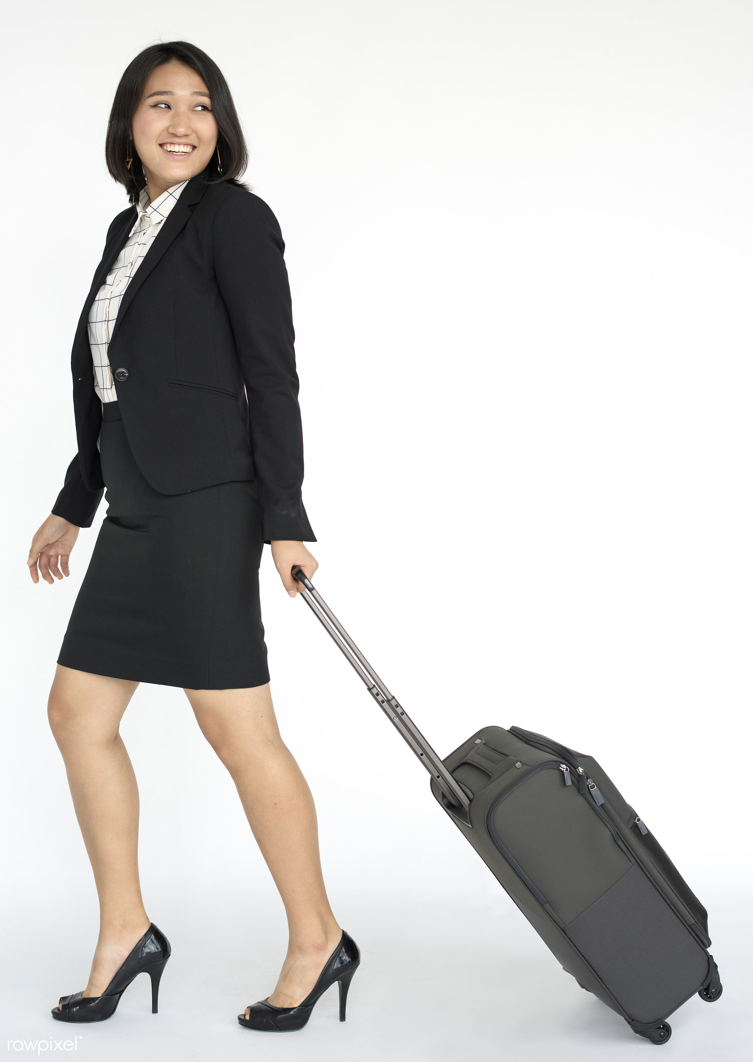Portrait of a young professional woman - studio, expression, person, one, luggage, people, business, modern, style, woman,...