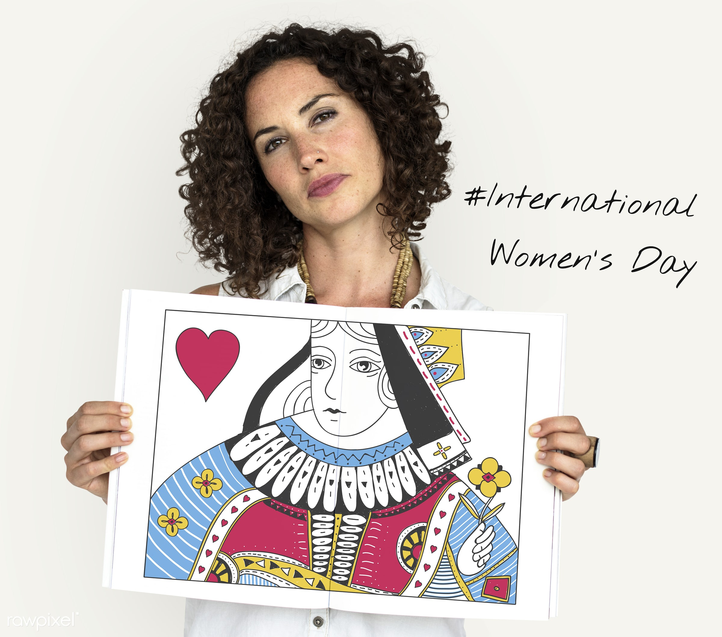 expression, person, graphic, holding, queen, isolated on white, motivation, rights, cute, race, people, placard, girl,...