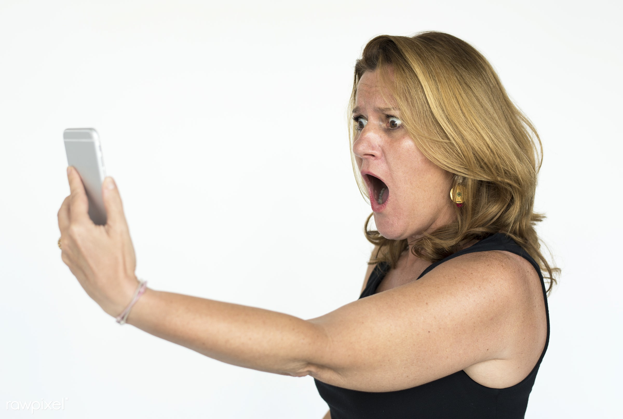 adult, background, blond, device, digital, ethnicity, expression, female, holding, isolated, isolated on white, lady,...
