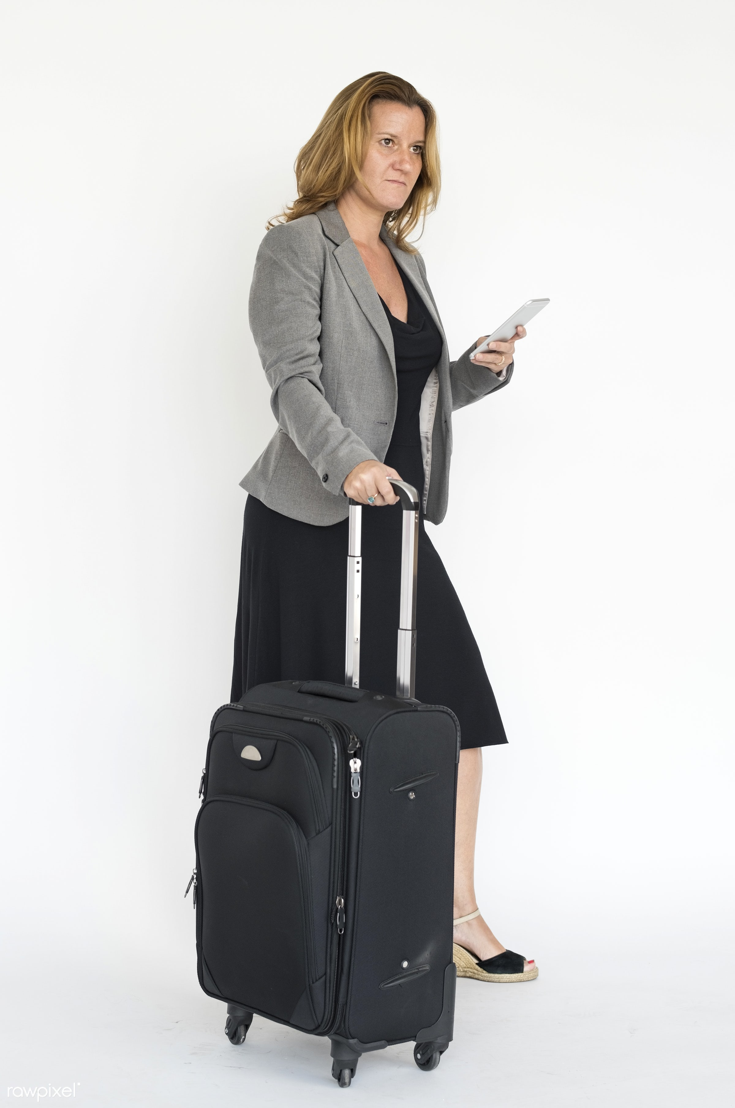 expression, studio, model, person, full length, isolated on white, luggage, people, race, caucasian, style, woman, lifestyle...