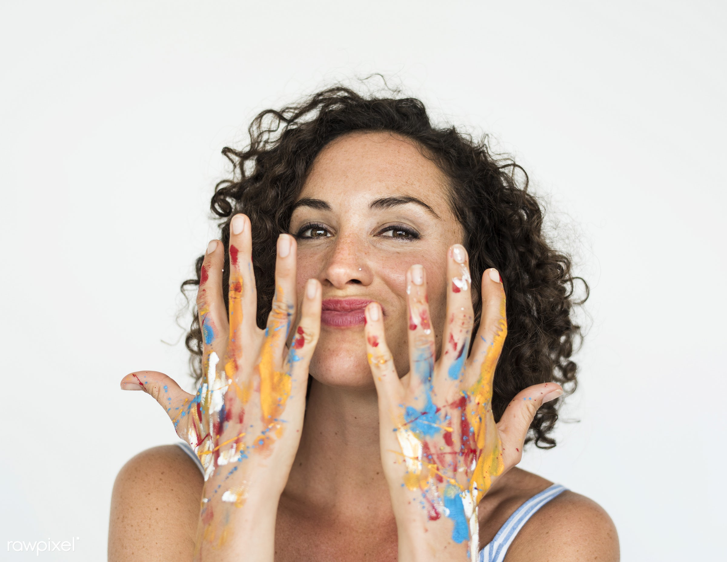 expression, studio, model, person, isolated on white, be creative, creativity, people, race, caucasian, colour, style, hands...