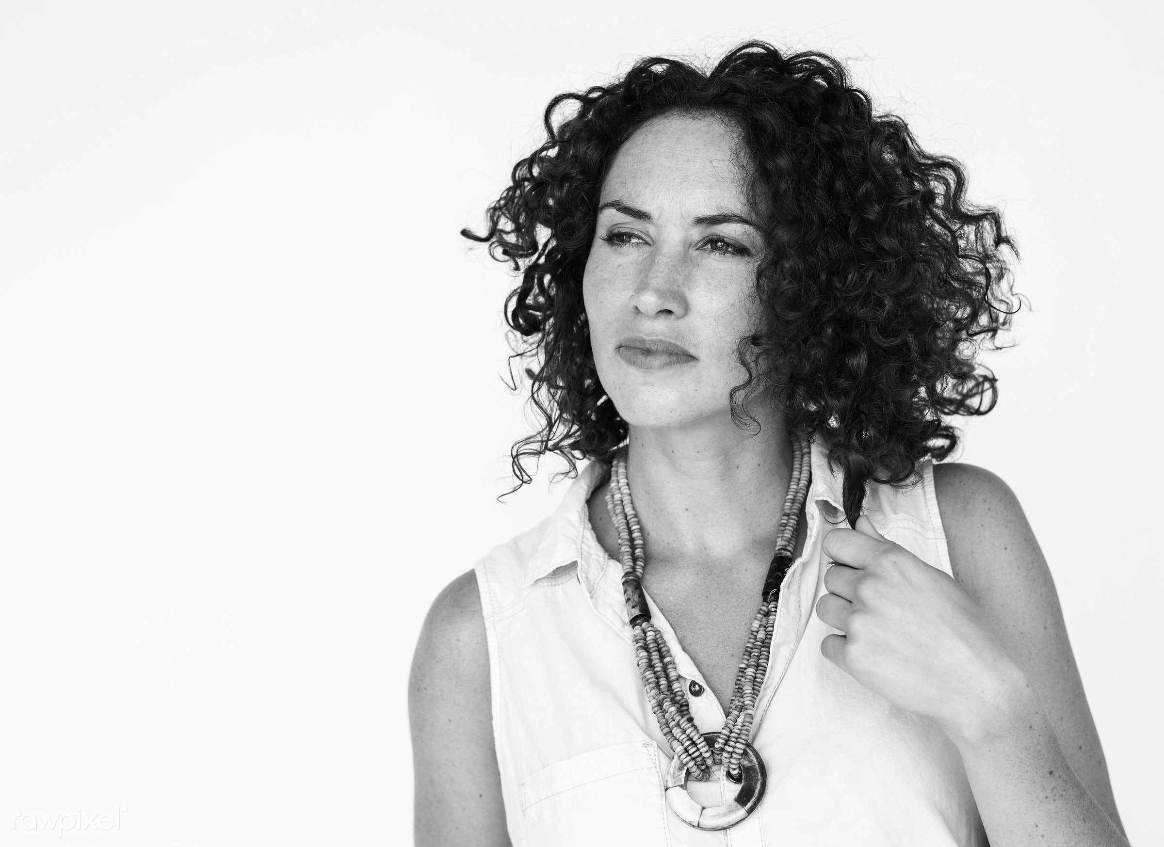 studio, calm, dreaming, expression, person, isolated on white, people, caucasian, curly, concerned, woman, casual, positive...