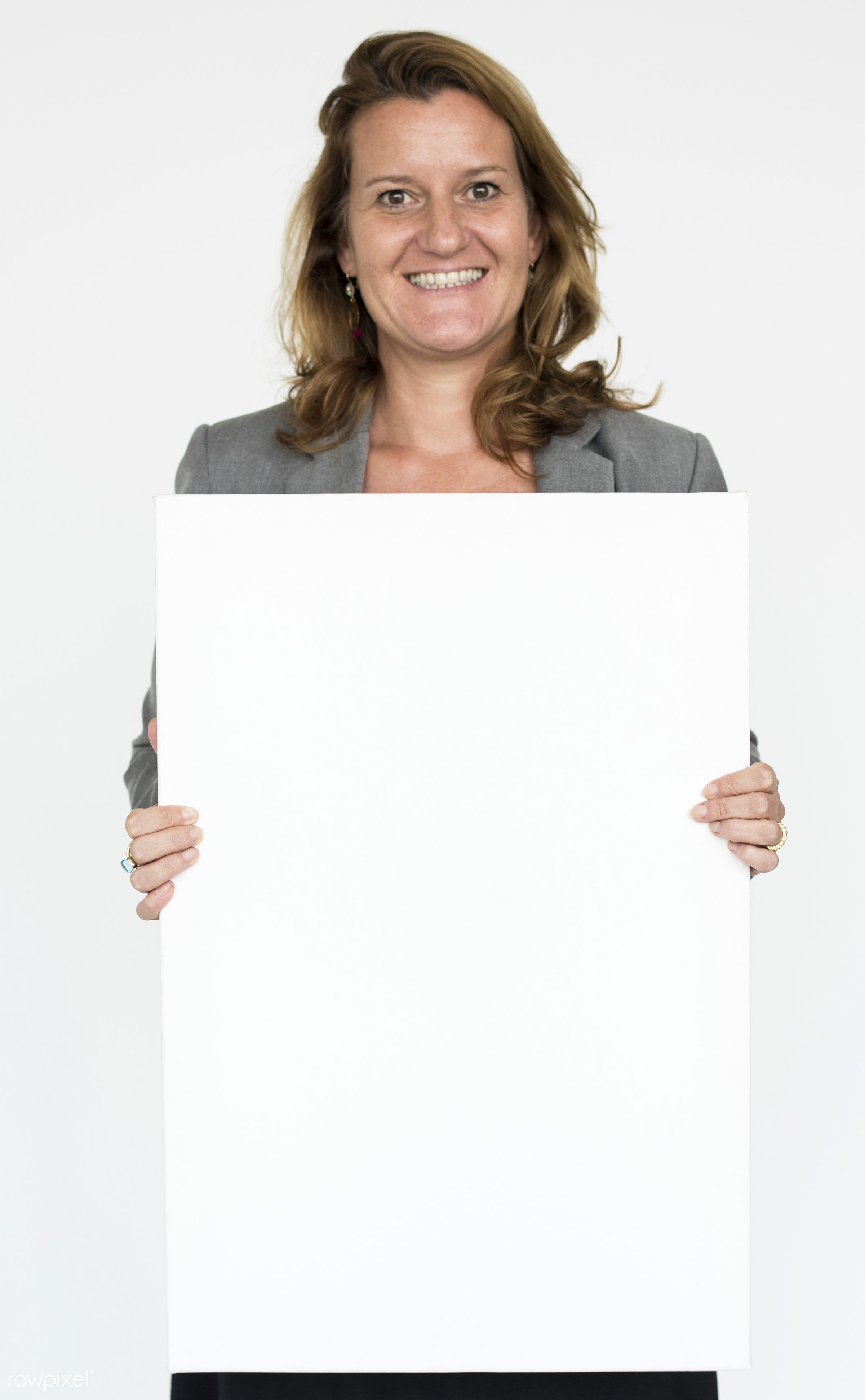 advertising, background, banner, blank, board, brunette, businesswoman, casual, caucasian, copy space, emotion, empty,...