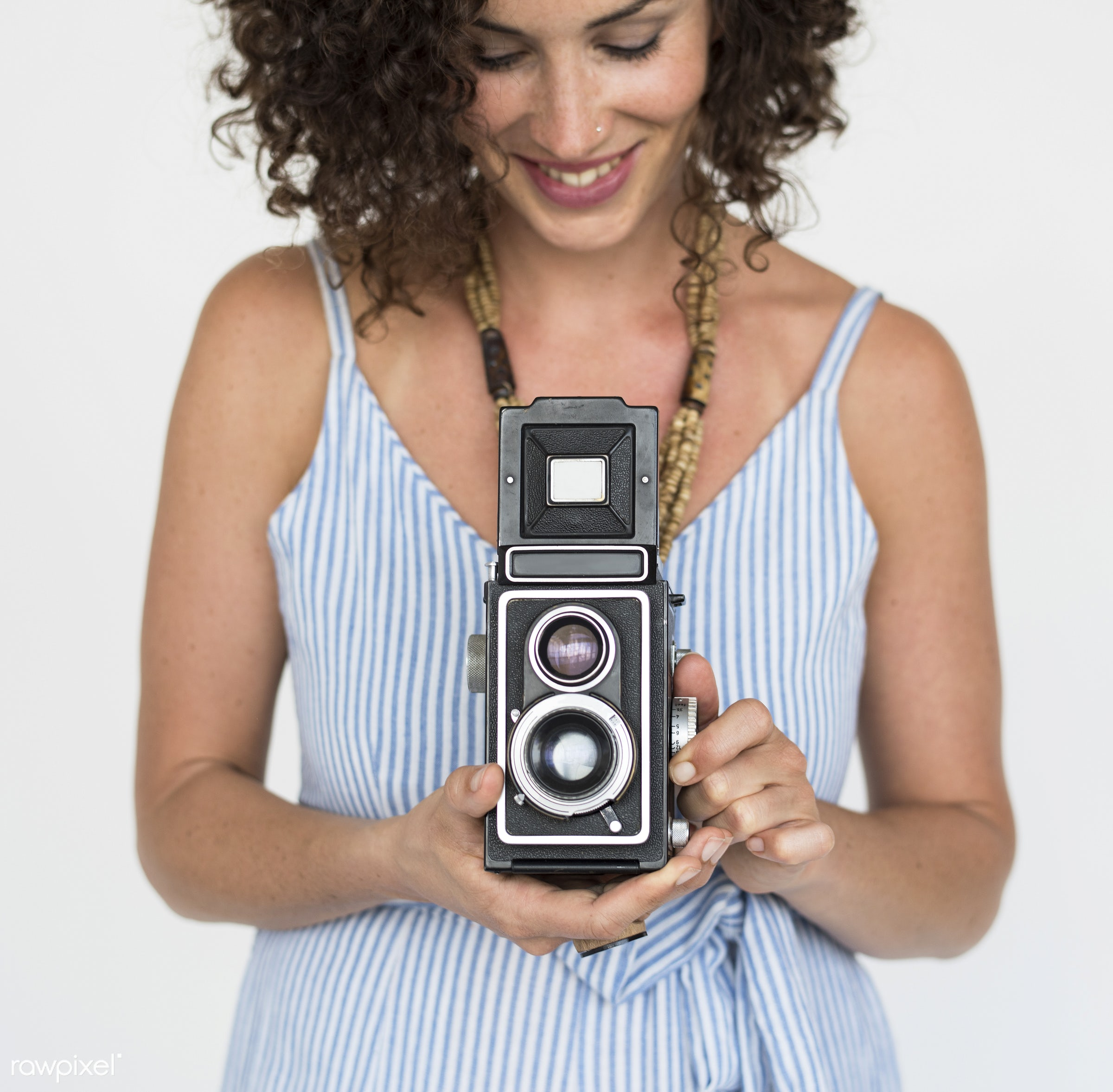 Portrait of beautiful woman with curly hair - studio, expression, person, race, people, caucasian, woman, lifestyle,...