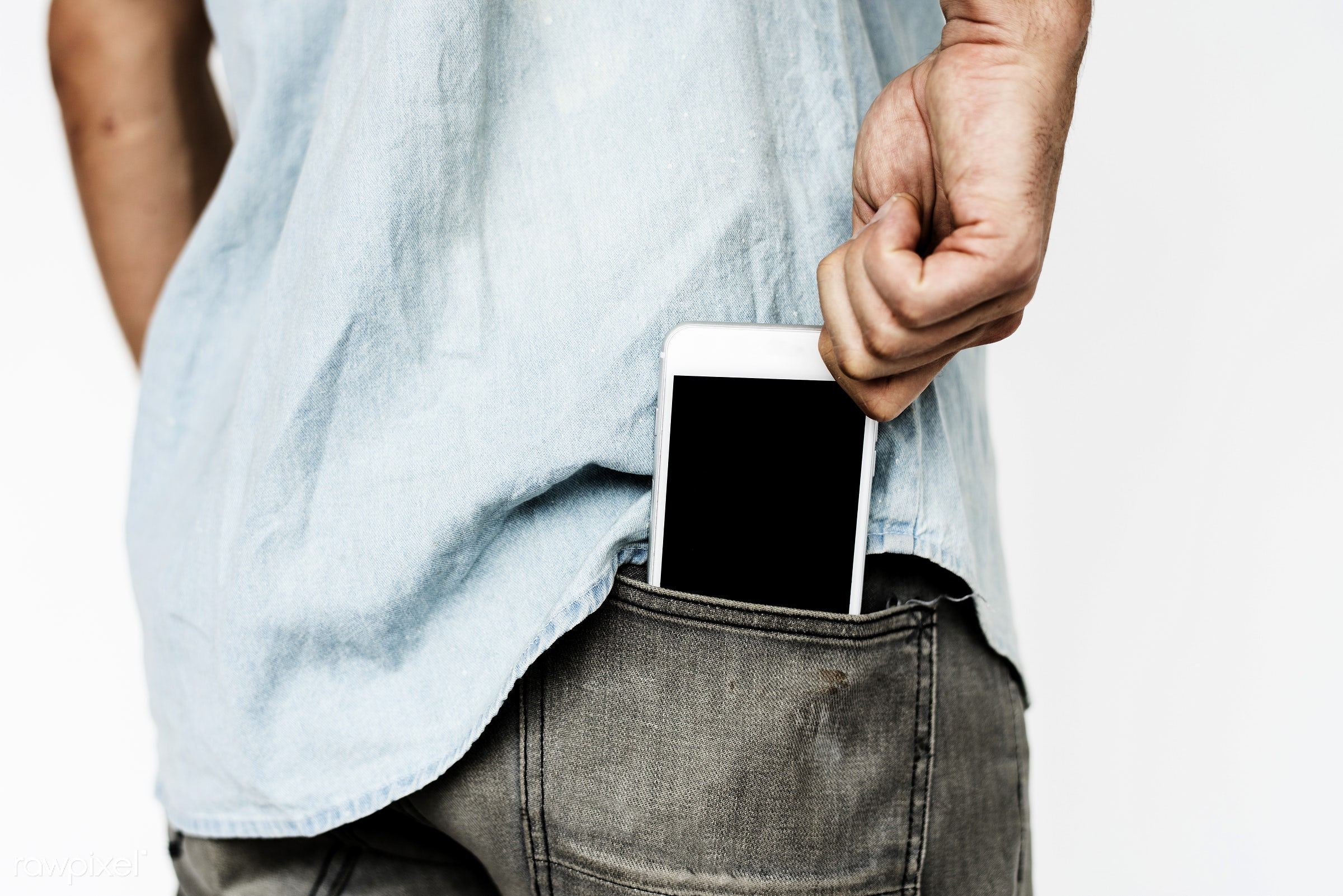 expression, studio, person, phone, technology, holding, isolated on white, digital, people, network, caucasian, modern,...