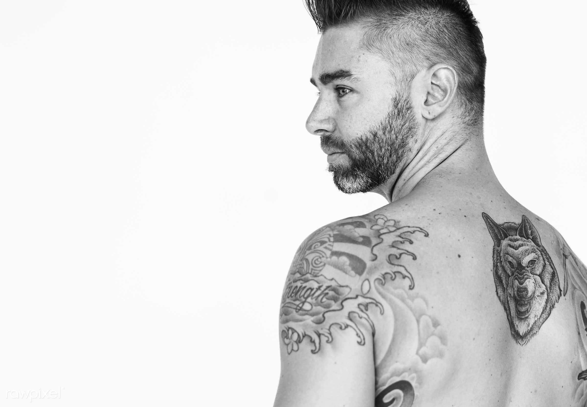 expression, studio, body, model, person, isolated on white, people, race, caucasian, fit, style, lifestyle, casual, tattoo,...