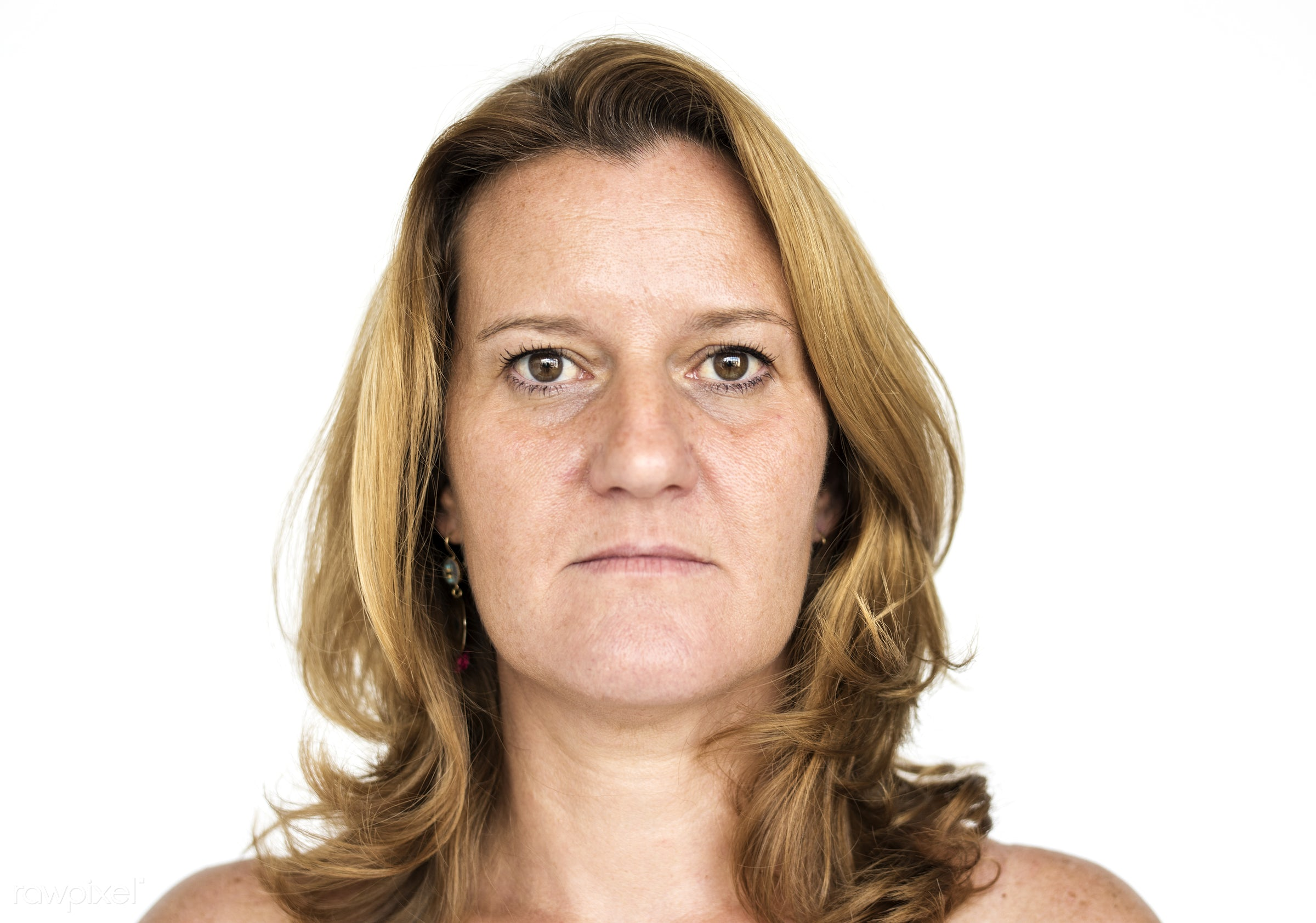 Portrait of a mature woman - expression, studio, model, person, isolated on white, angry, people, race, caucasian, style,...