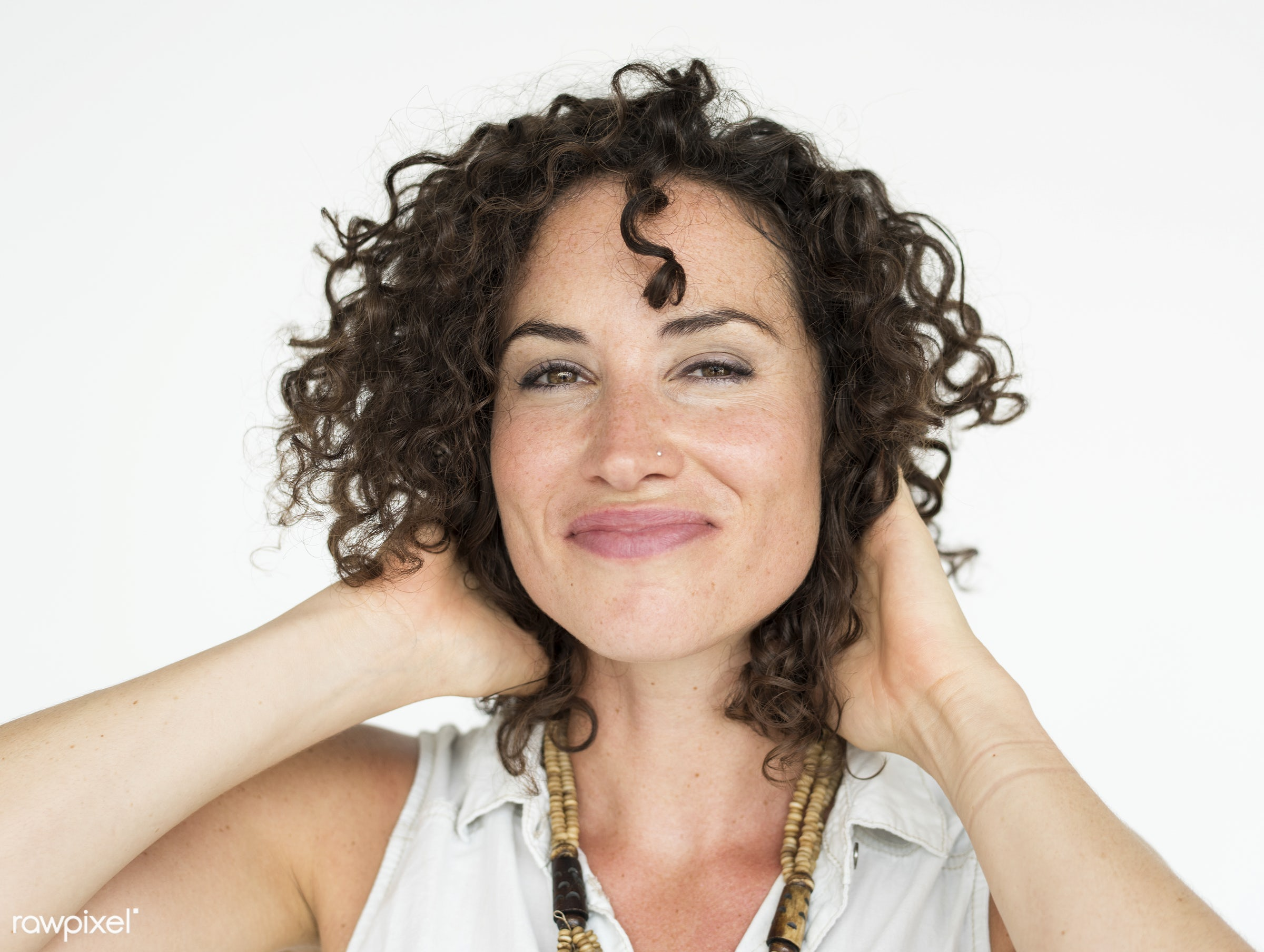 Portrait of beautiful woman with curly hair - studio, expression, person, model, joy, isolated on white, optimistic, race,...