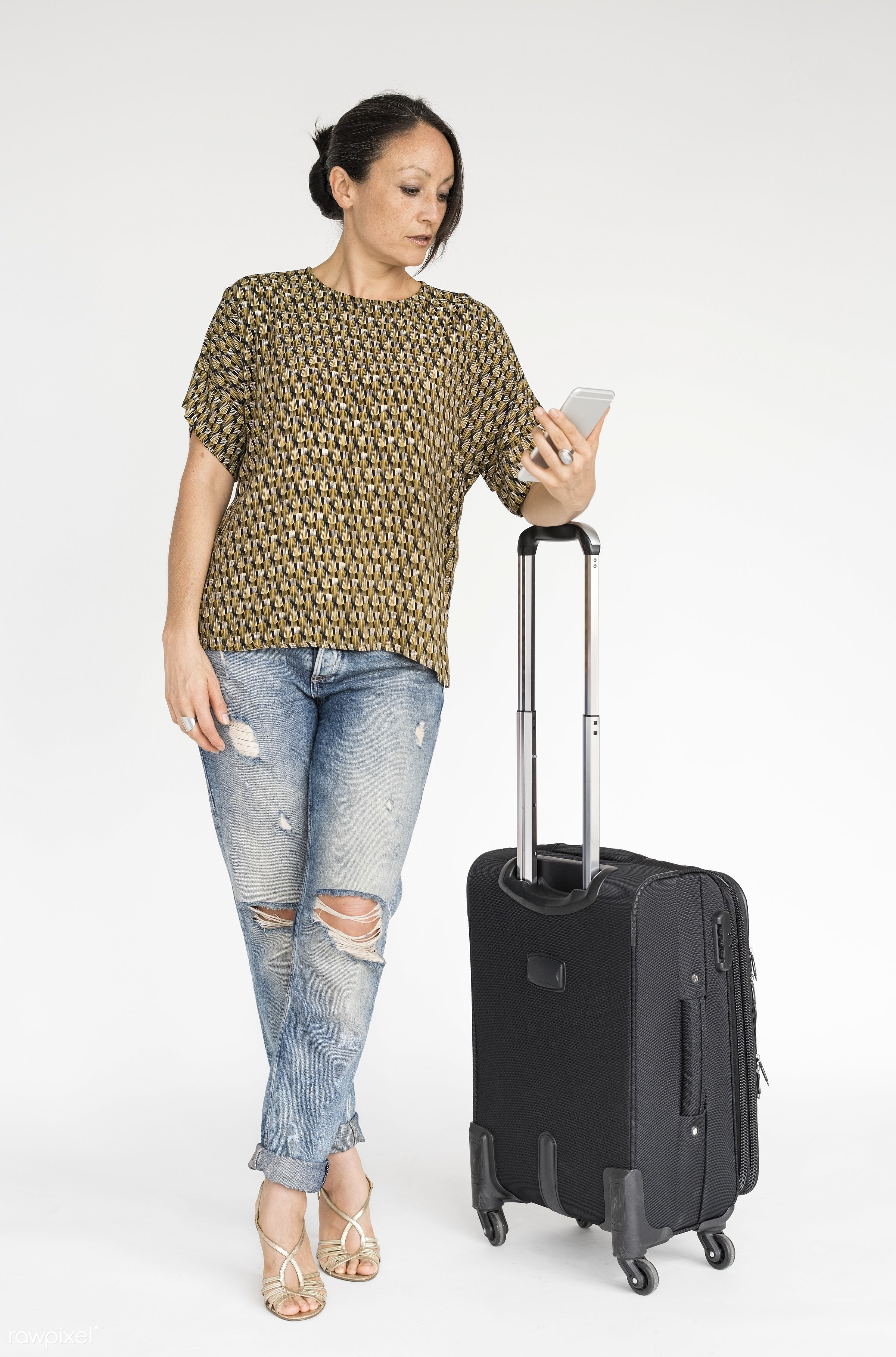 expression, studio, using, person, phone, technology, holding, luggage, travel, people, caucasian, woman, serious, isolated...