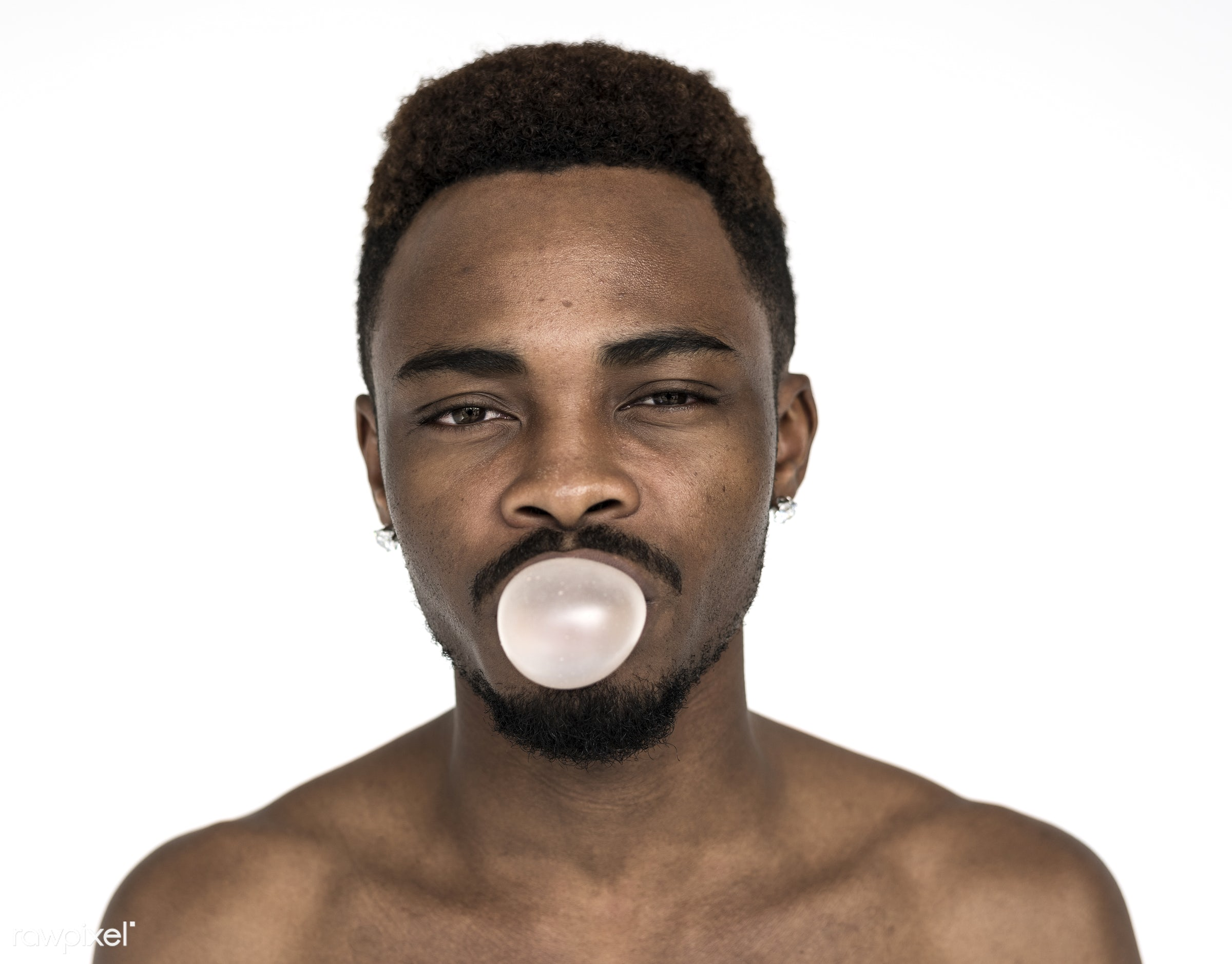 studio, expression, body, person, model, isolated on white, race, people, bubblegum, looking, fit, style, american,...