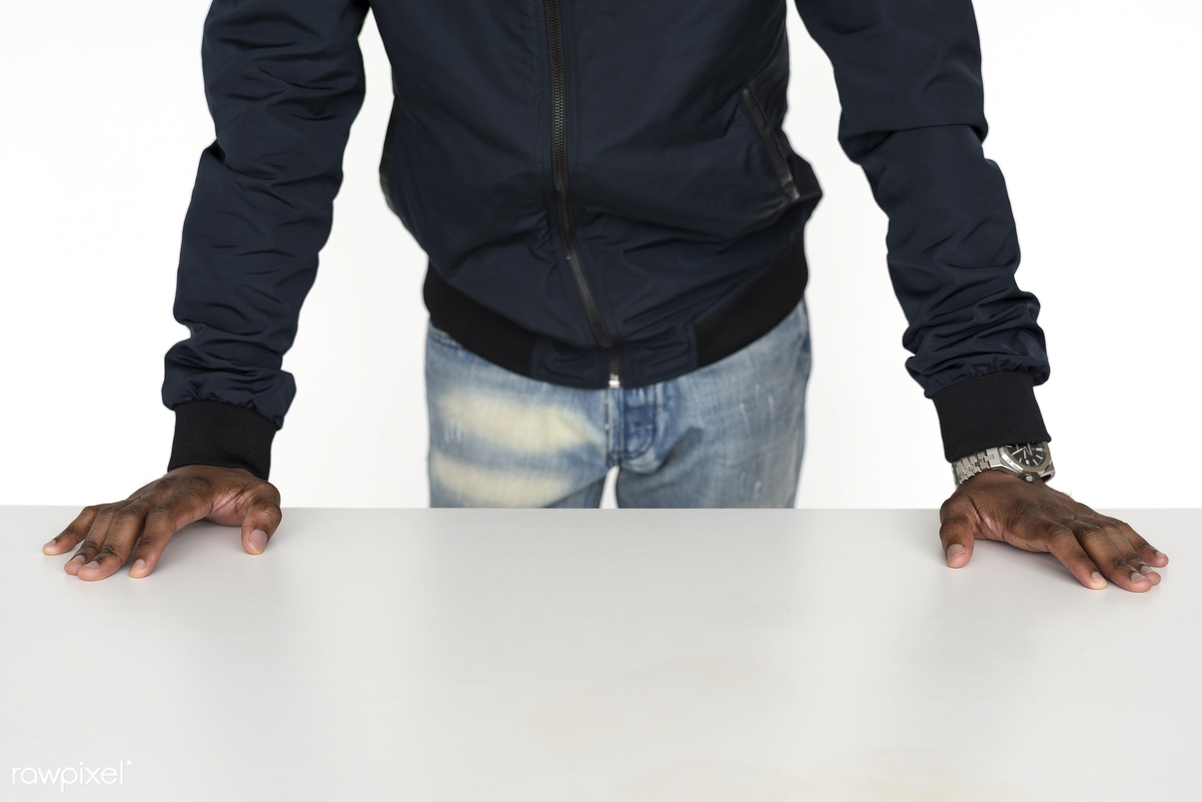 adult, african descent, arms, assertive, background, black, casual, chain, dude, emotion, expression, gesture, guy, hands,...
