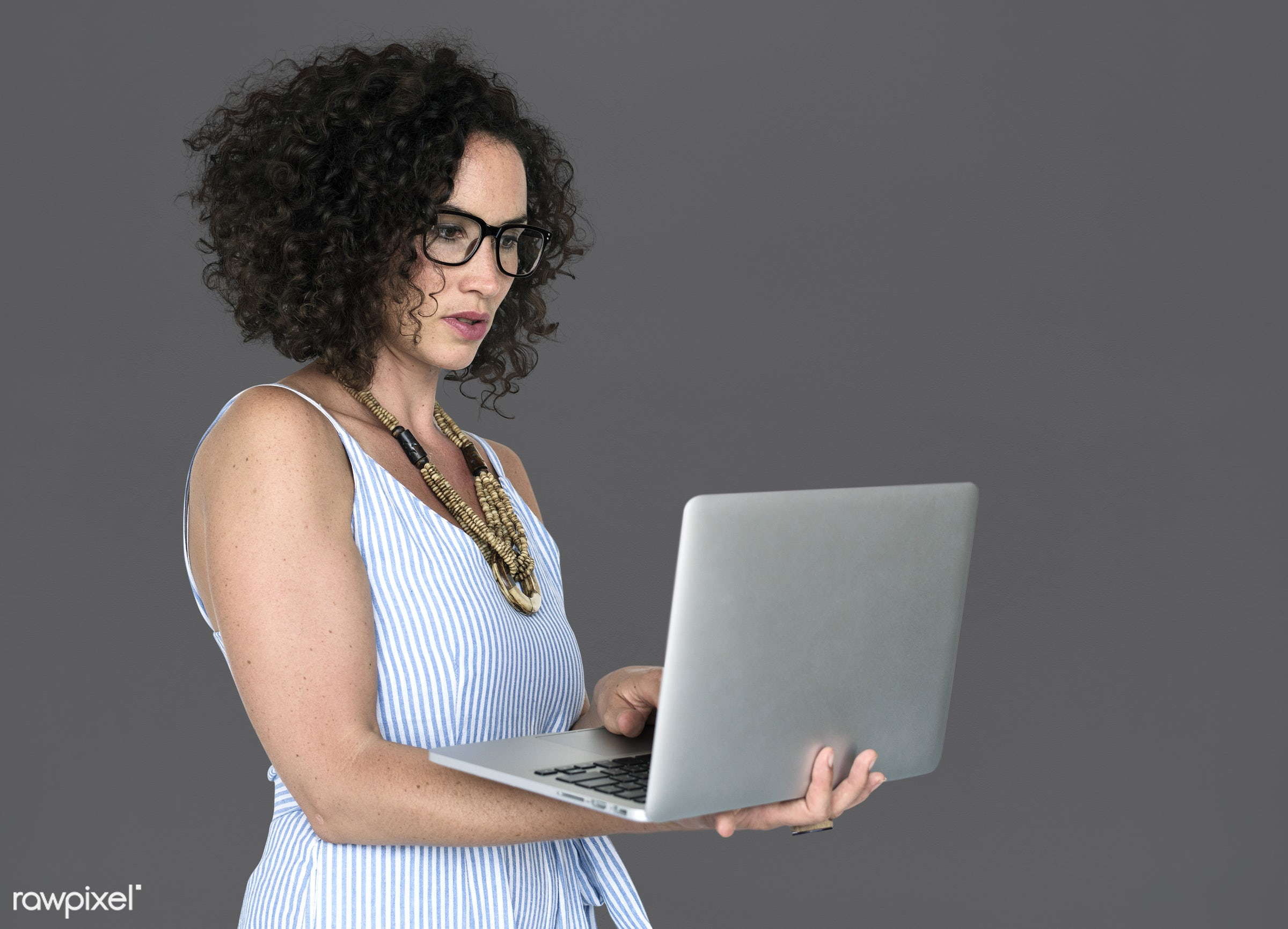 expression, studio, casual attire, person, technology, concentrating, people, caucasian, pose, girl, solo, woman, casual,...