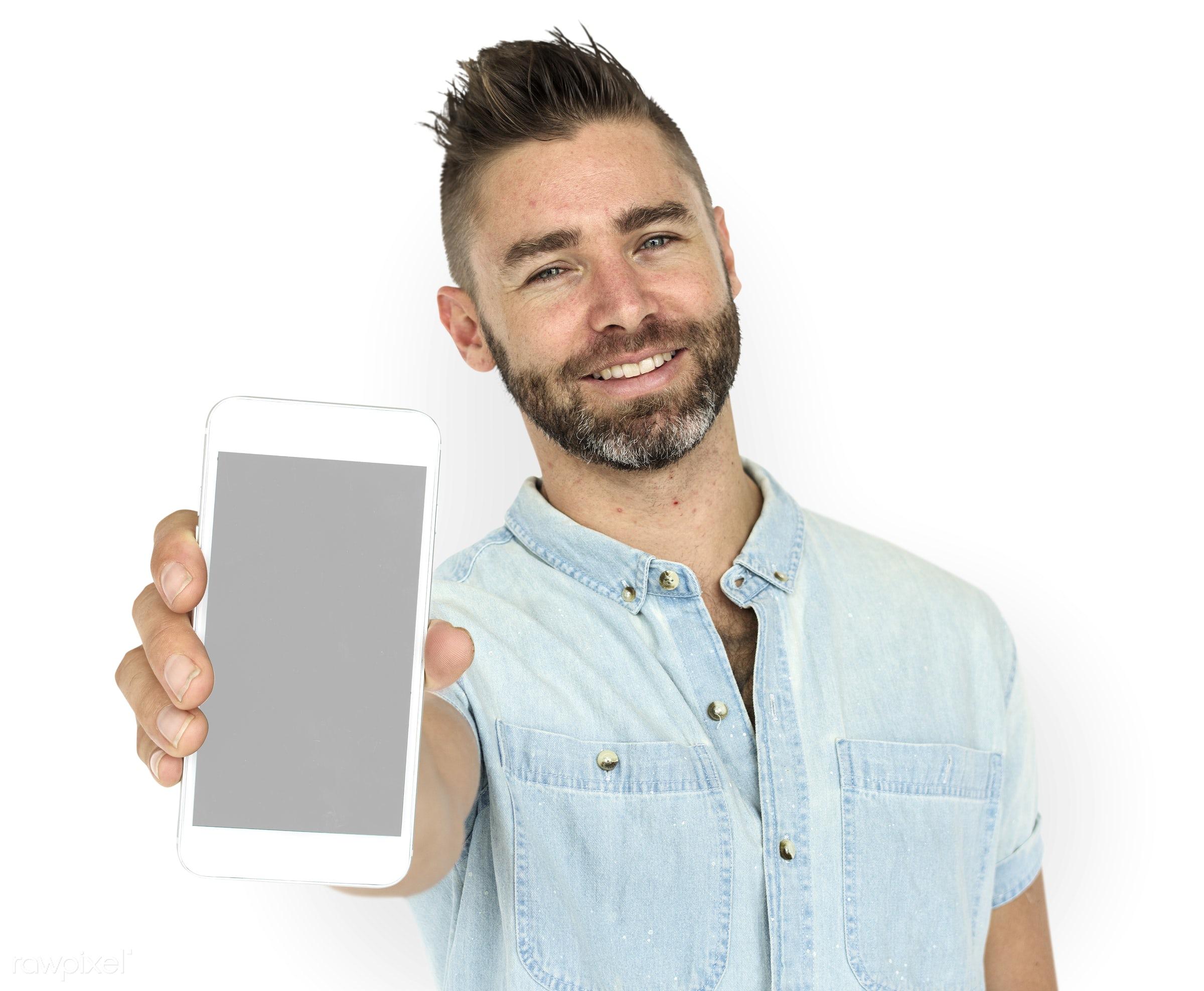 background, beard, caucasian, communication, device, emotion, expression, holding, holding phone, isolated, isolated on...