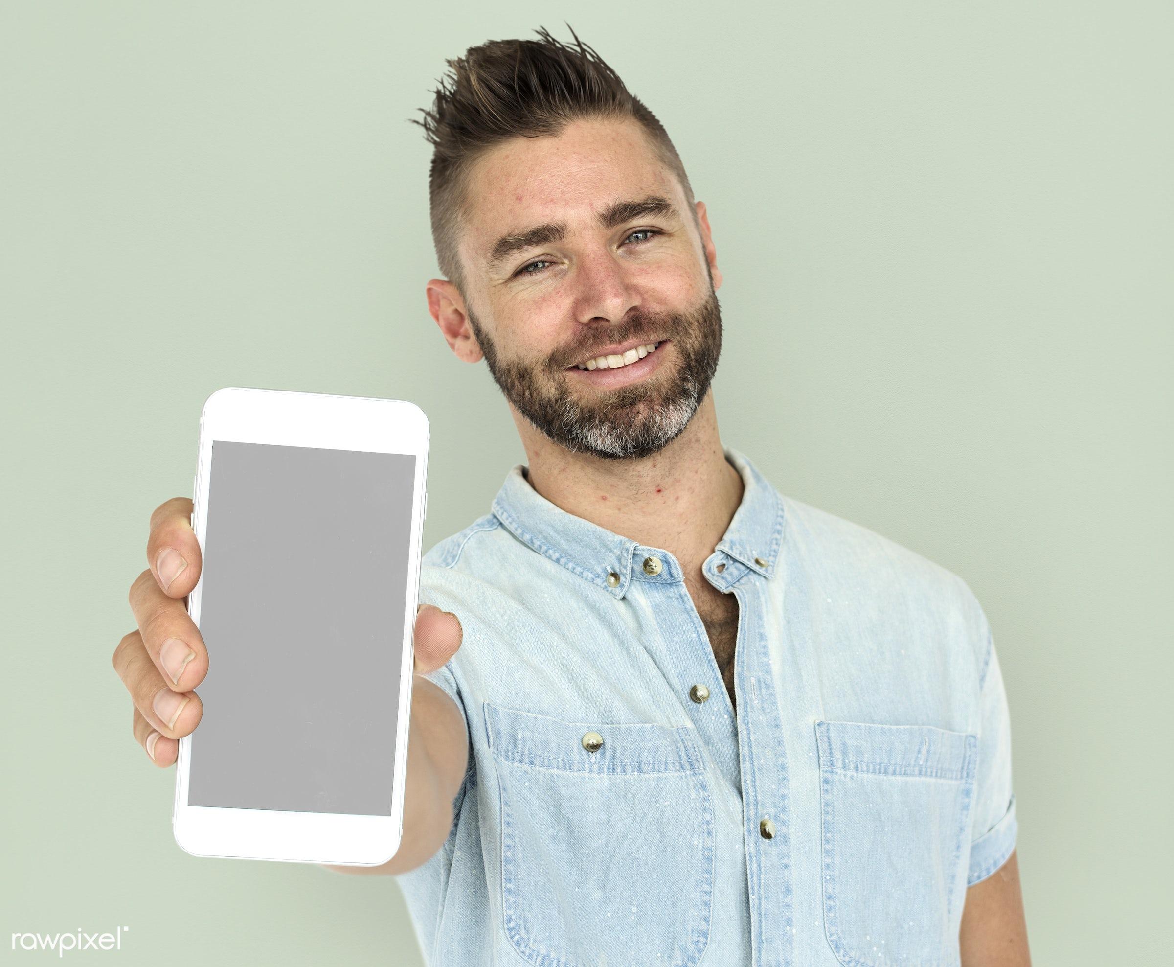 background, beard, communication, device, emotion, expression, holding, holding phone, isolated, male, man, mobile, mobile...