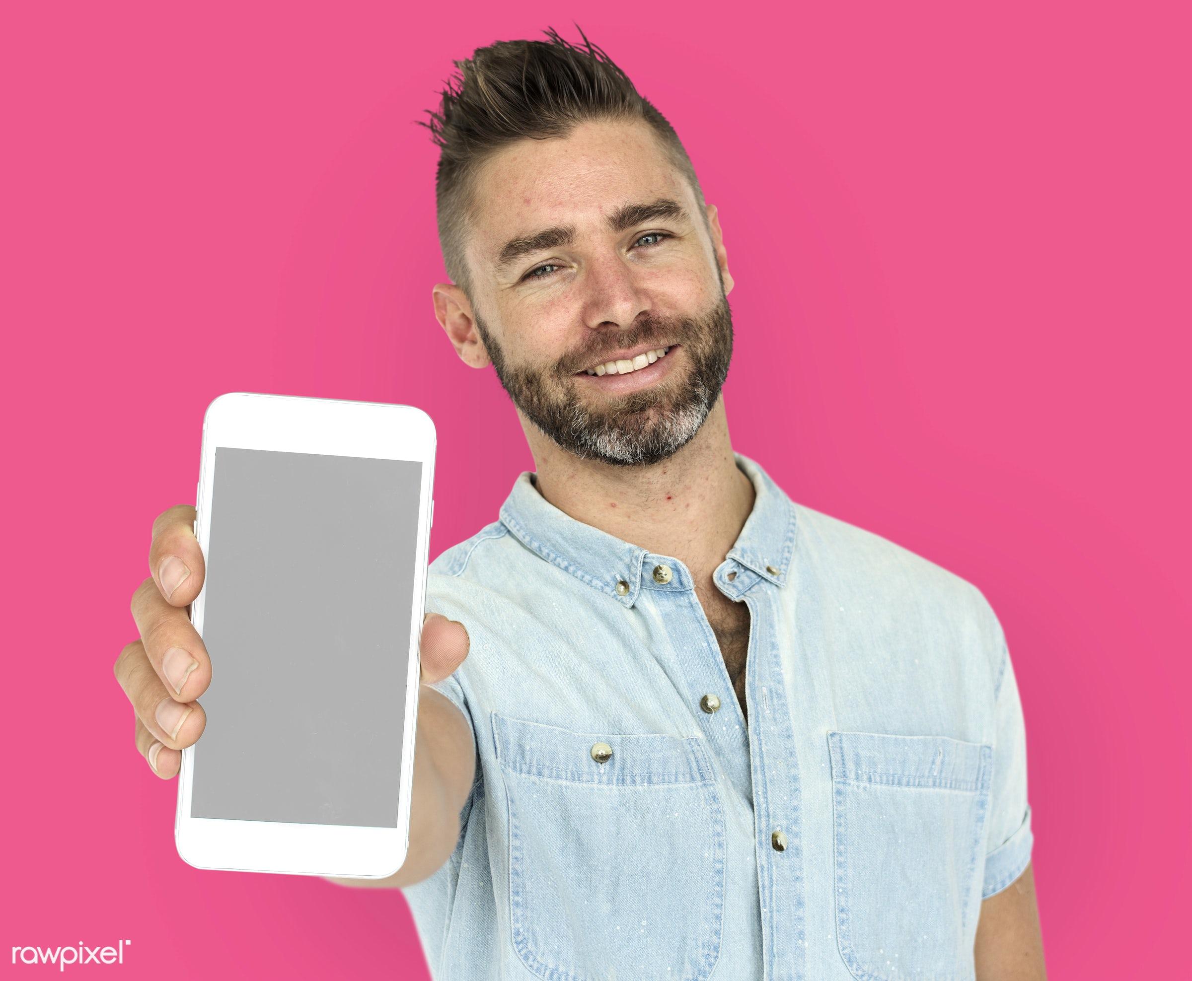 background, beard, caucasian, communication, device, emotion, expression, holding, holding phone, isolated, male, man,...