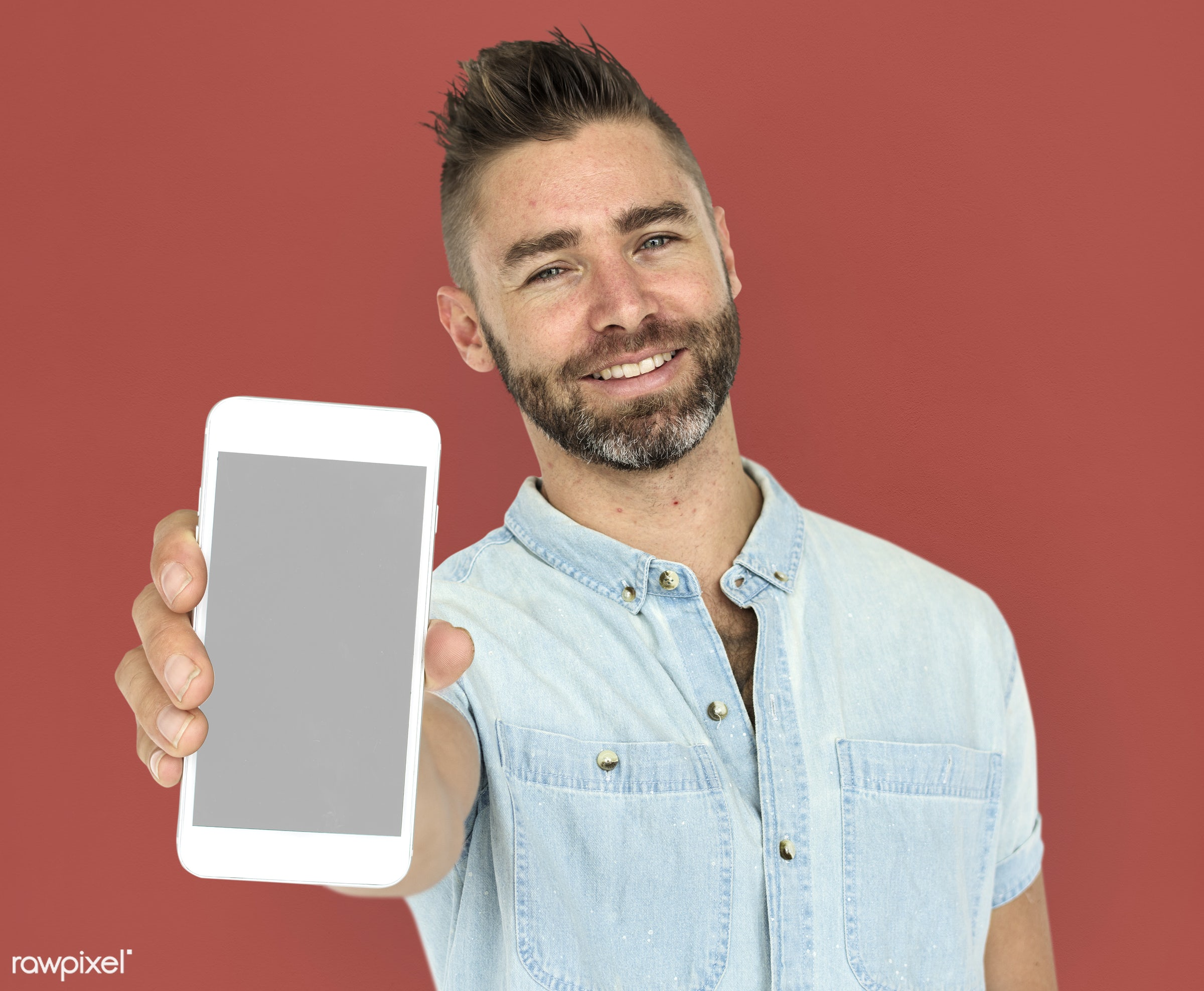 background, beard, brown, caucasian, communication, device, emotion, expression, holding, holding phone, isolated, male, man...