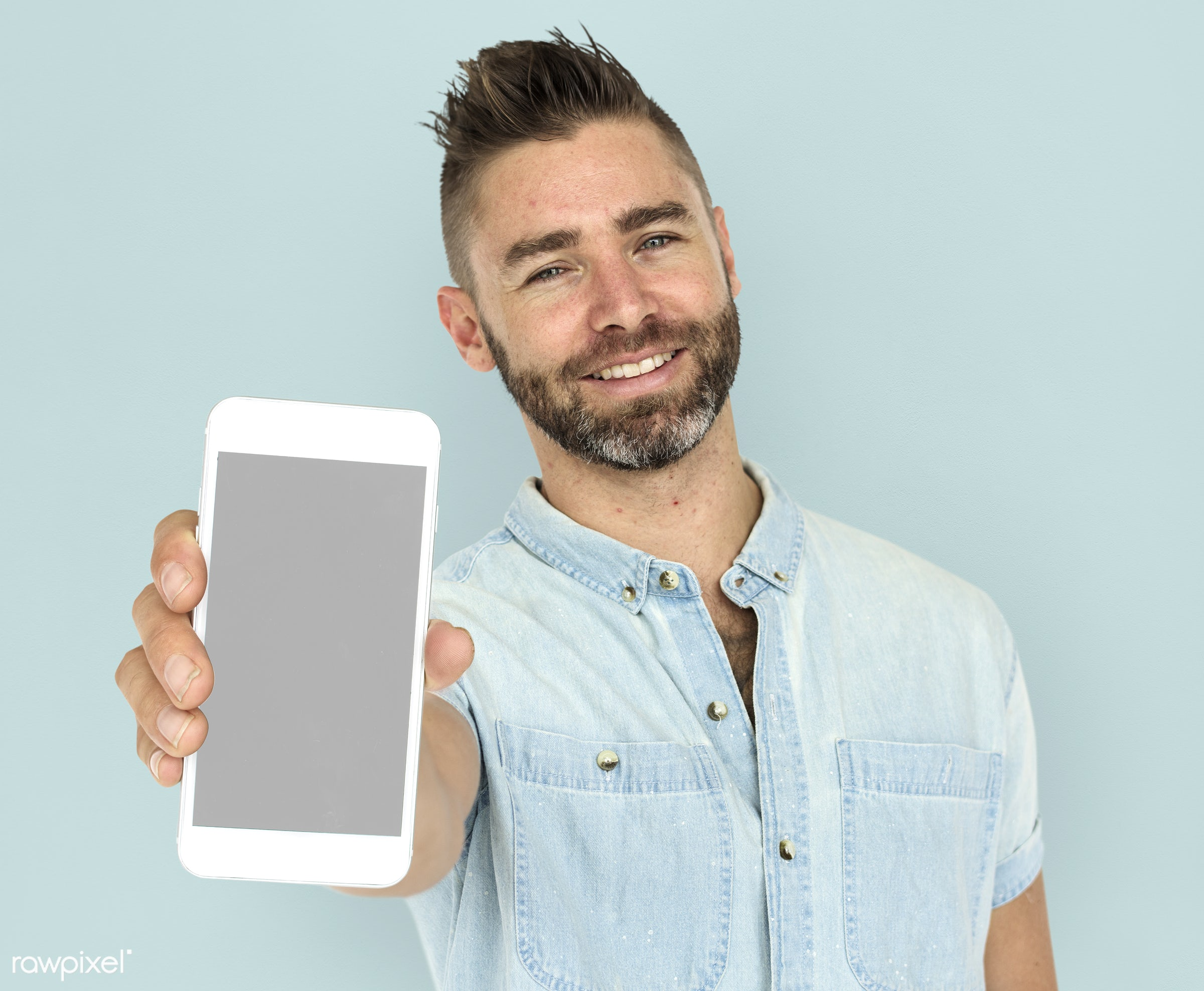 expression, studio, person, phone, technology, portable, holding, people, positivity, caucasian, mobile phone, positive,...