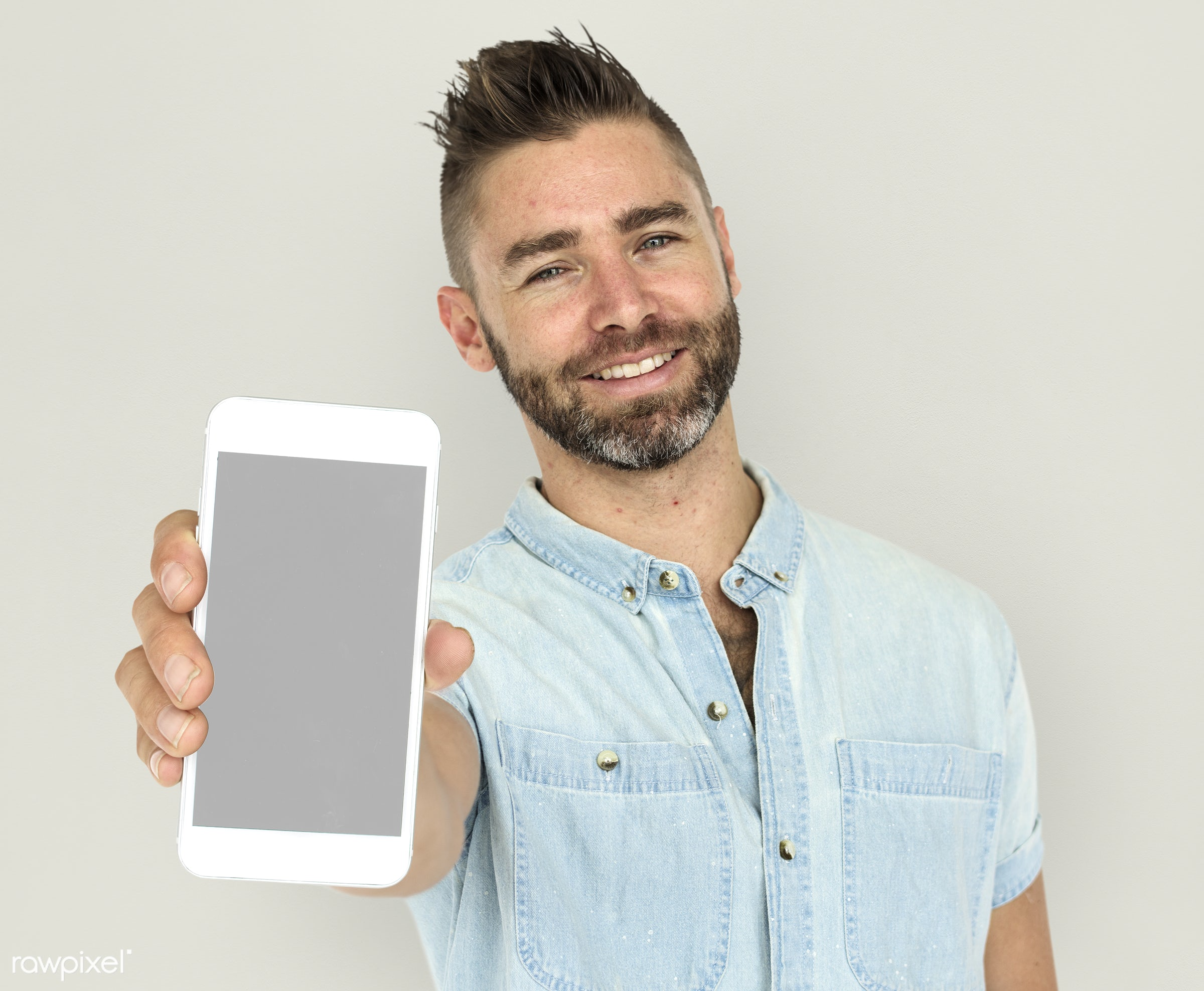 background, beard, caucasian, communication, device, emotion, expression, holding, holding phone, isolated, male, man,...