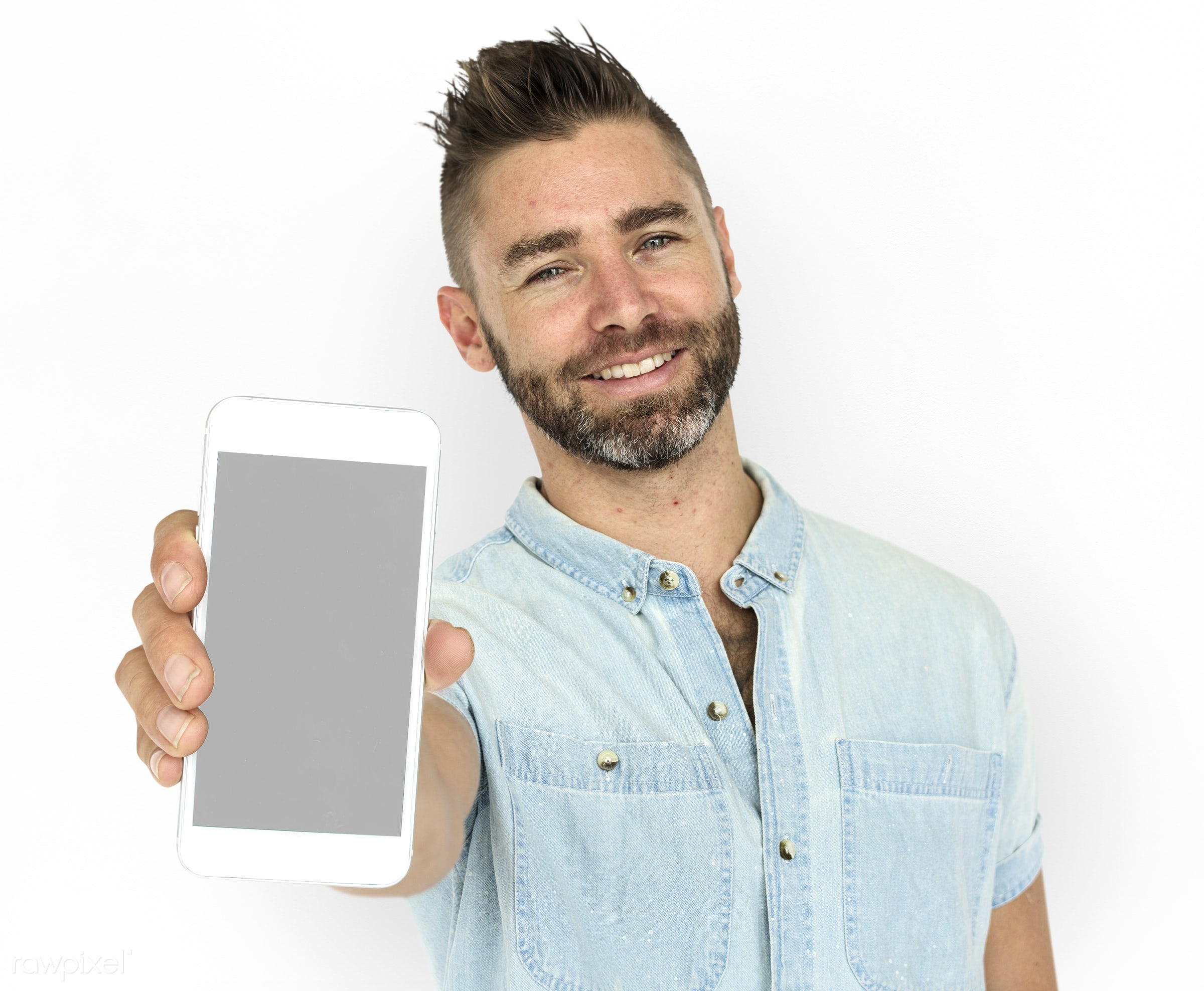 background, beard, caucasian, communication, device, emotion, expression, holding, holding phone, isolated, isolated on...