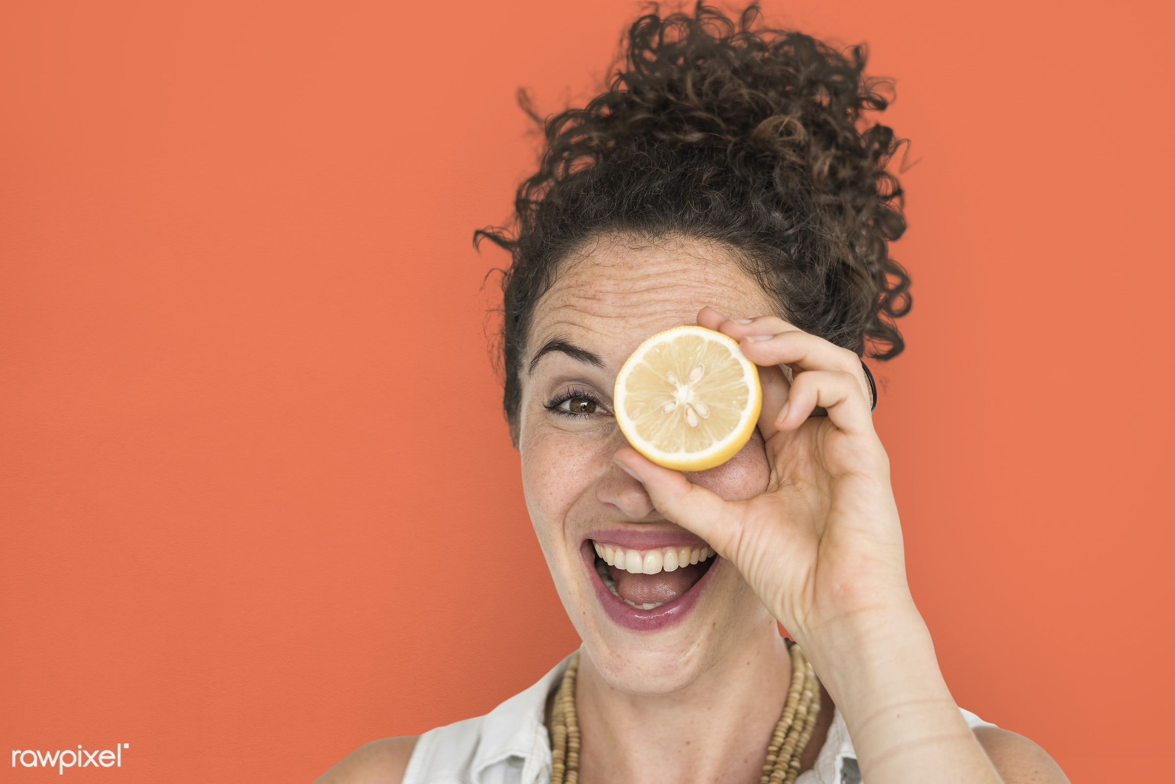studio, expression, person, people, eyes, cover, woman, cheerful, smiling, isolated, orange, fruit, human hand, happiness,...