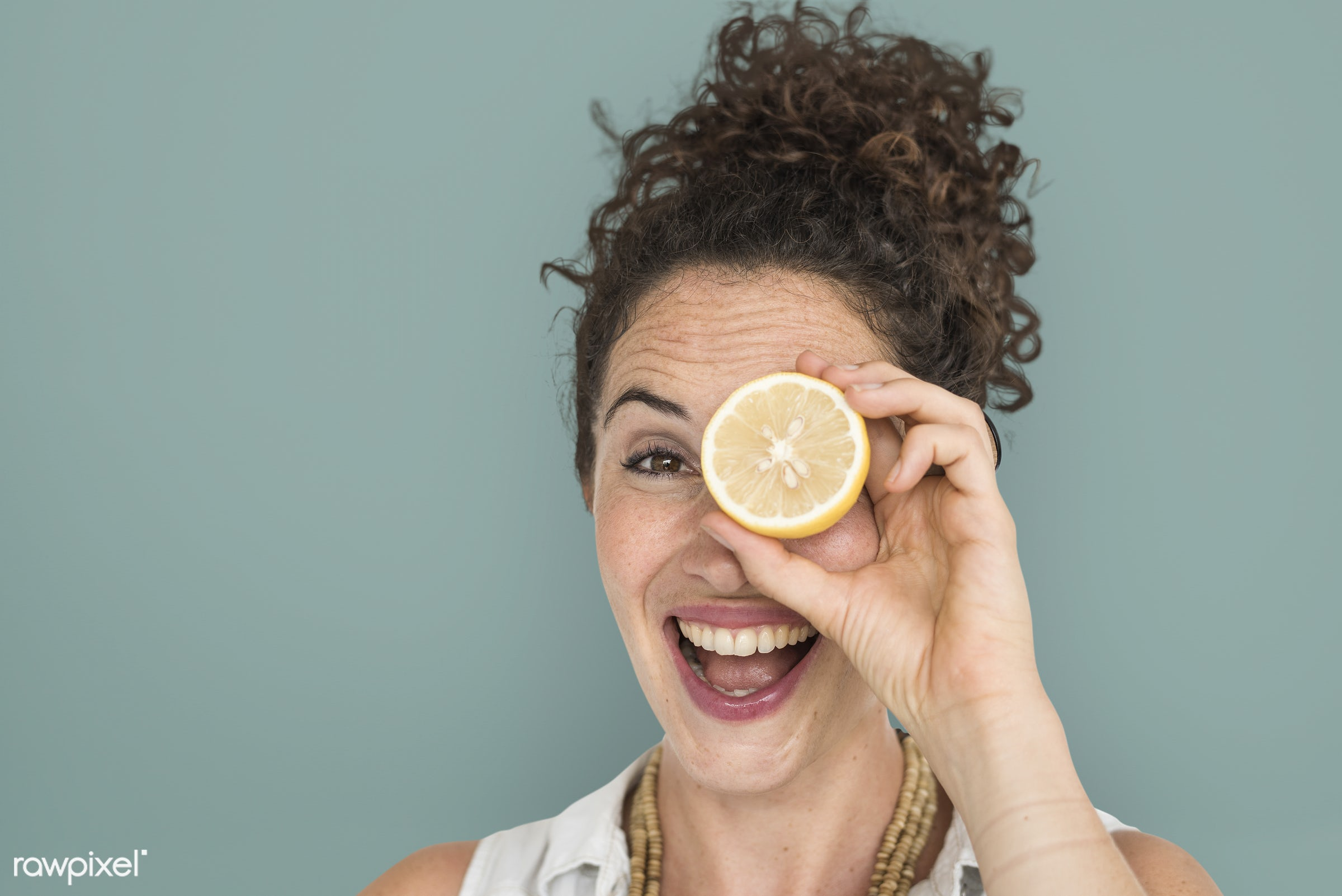 studio, expression, person, people, eyes, cover, woman, cheerful, smiling, isolated, fruit, human hand, happiness, portrait...
