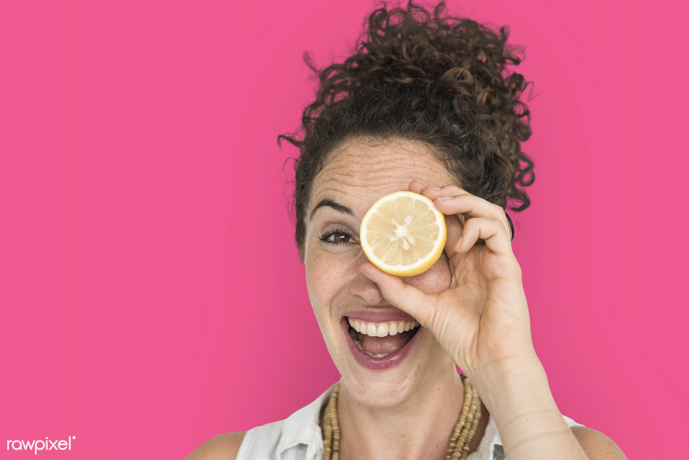 studio, expression, person, people, eyes, cover, woman, pink, cheerful, smiling, isolated, fruit, human hand, happiness,...