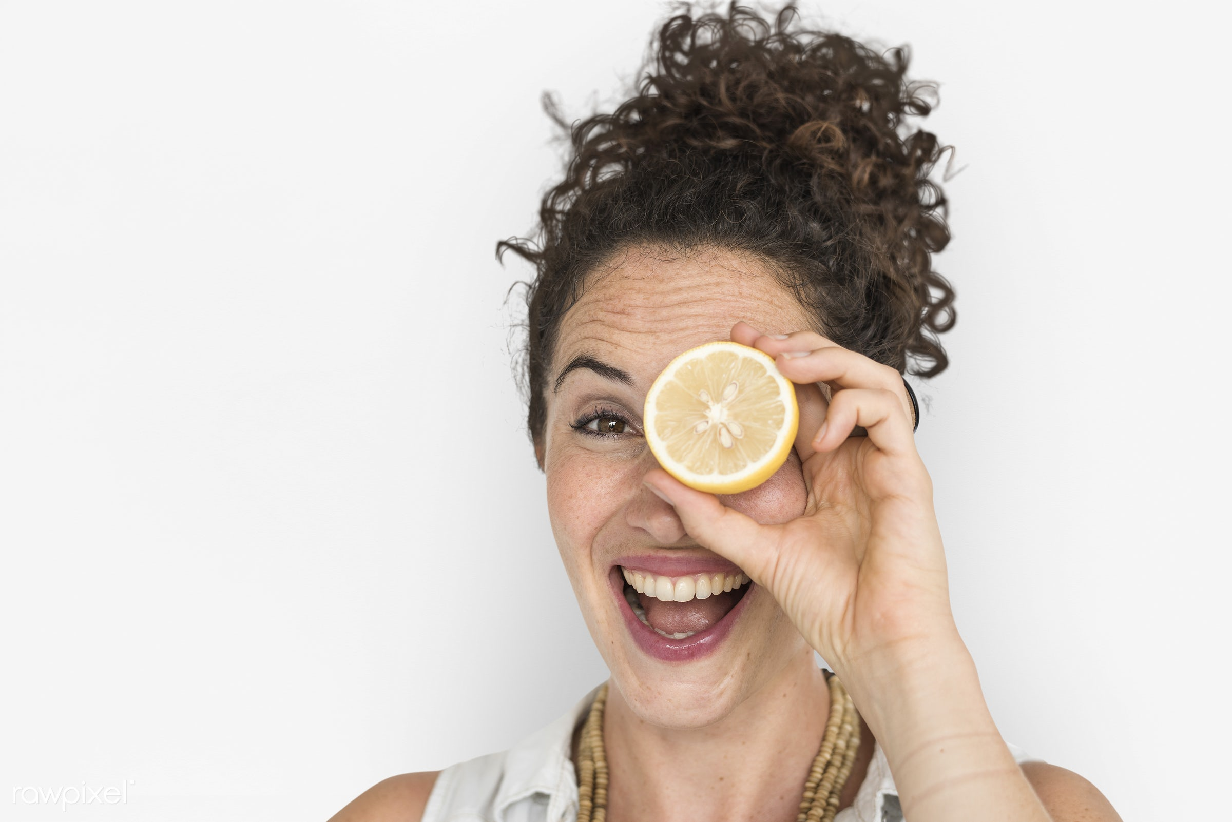 studio, expression, person, people, eyes, cover, woman, cheerful, smiling, isolated, fruit, white, human hand, happiness,...